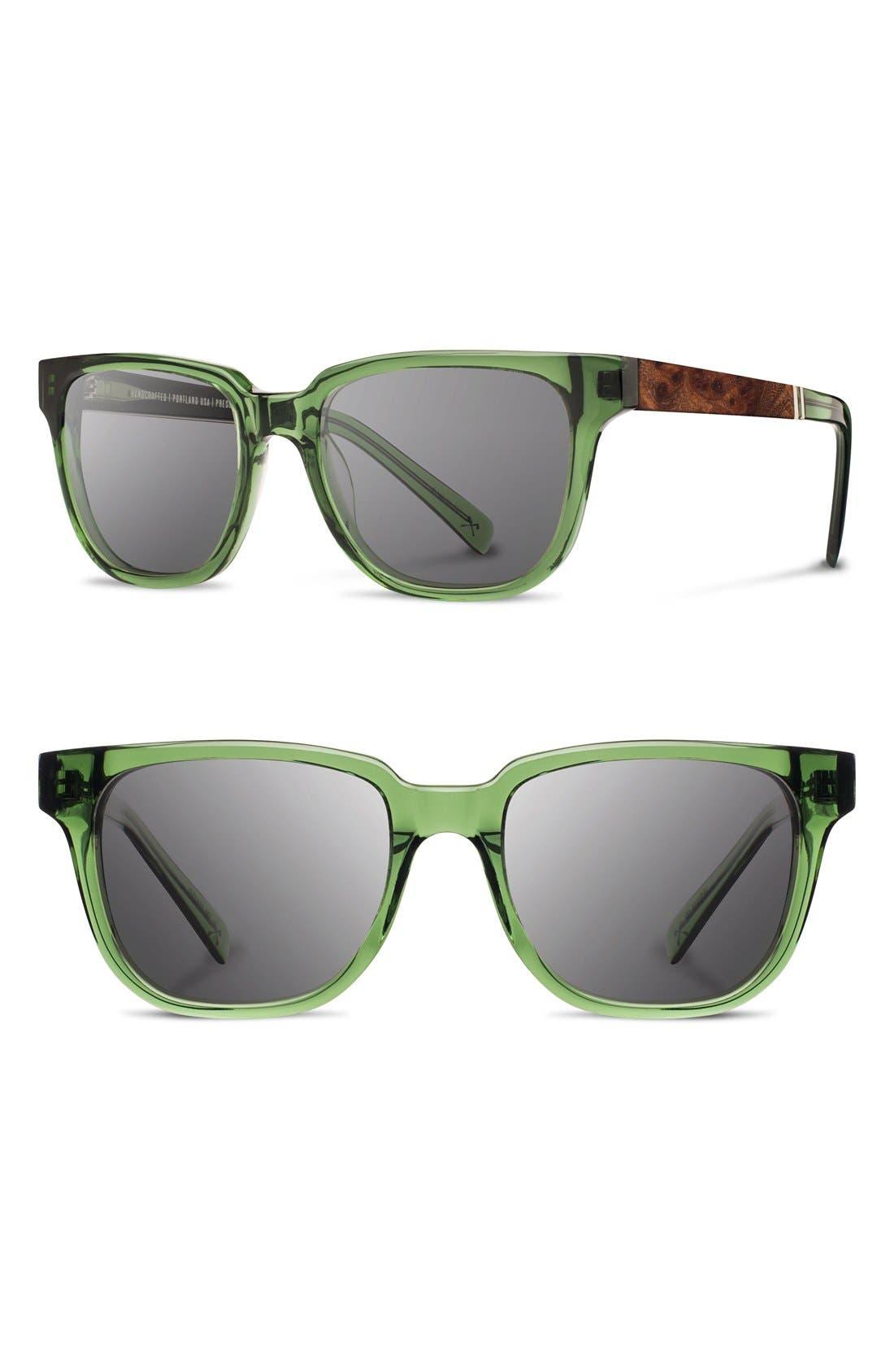 'Prescott' 52mm Acetate & Wood Sunglasses,                             Main thumbnail 1, color,                             Emerald/ Elm Burl/ Grey