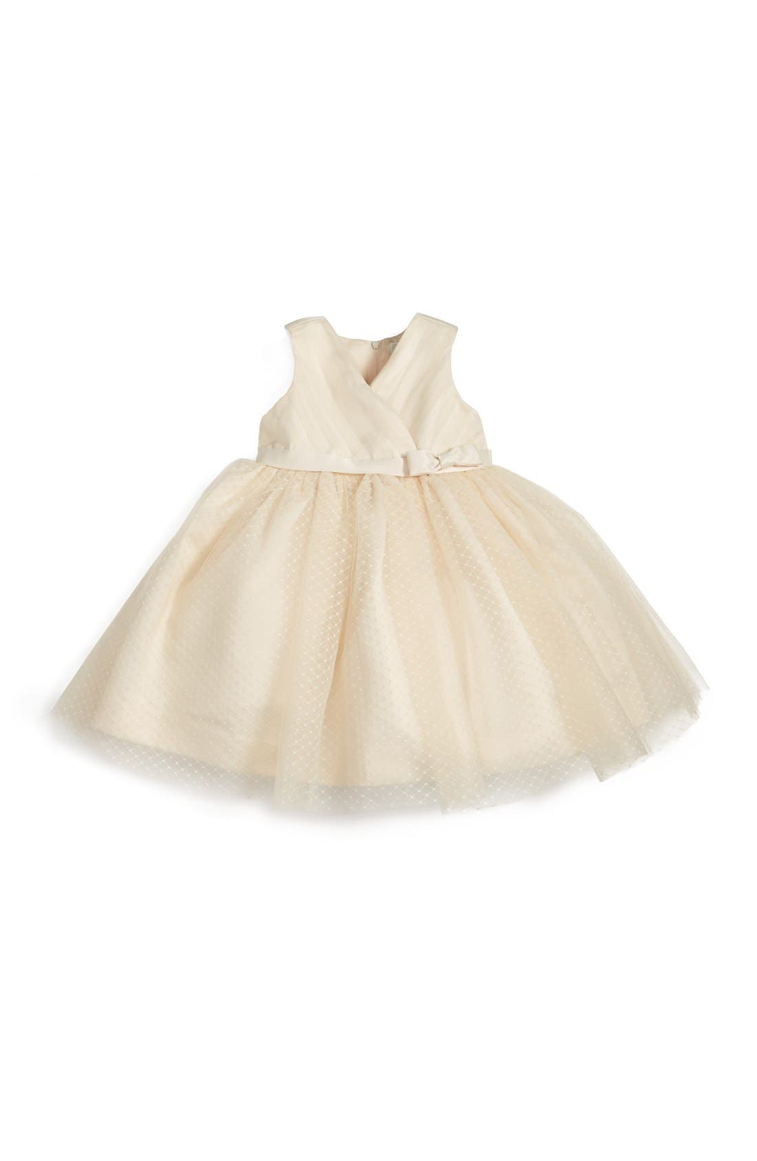 Satin & Tulle Dress,                             Main thumbnail 1, color,                             Sand