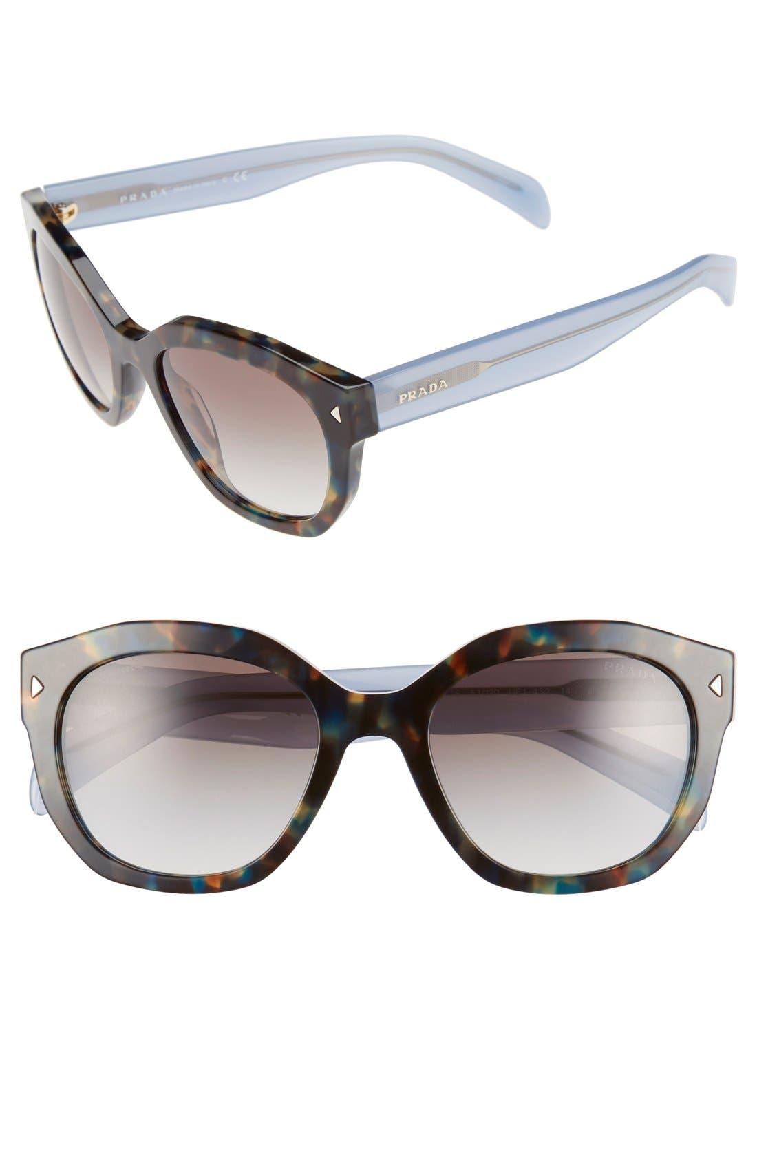 Contrast Temple 53mm Sunglasses,                             Main thumbnail 1, color,                             Tortoise Blue