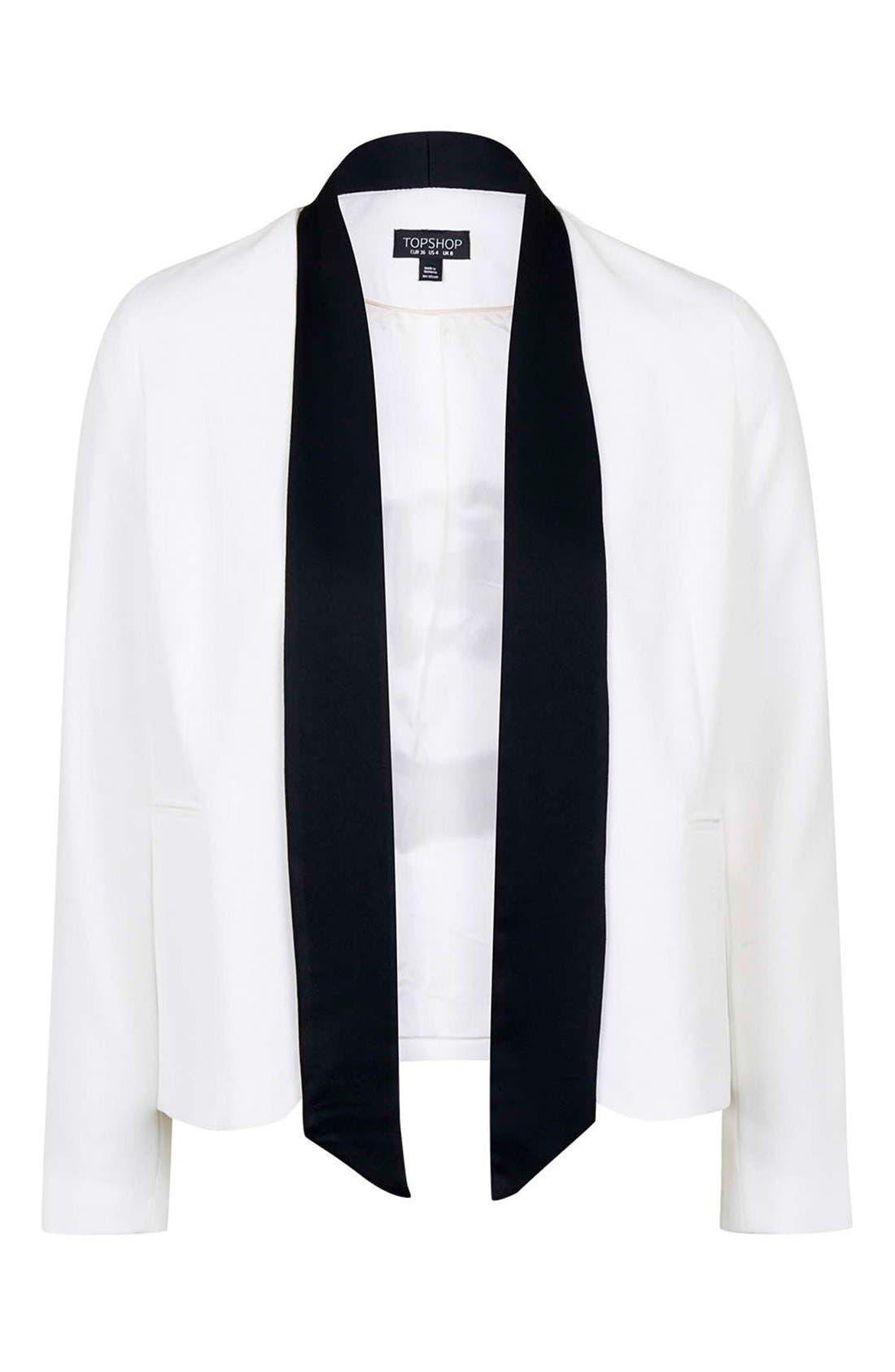 Alternate Image 4  - Topshop Neck Tie Tuxedo Jacket