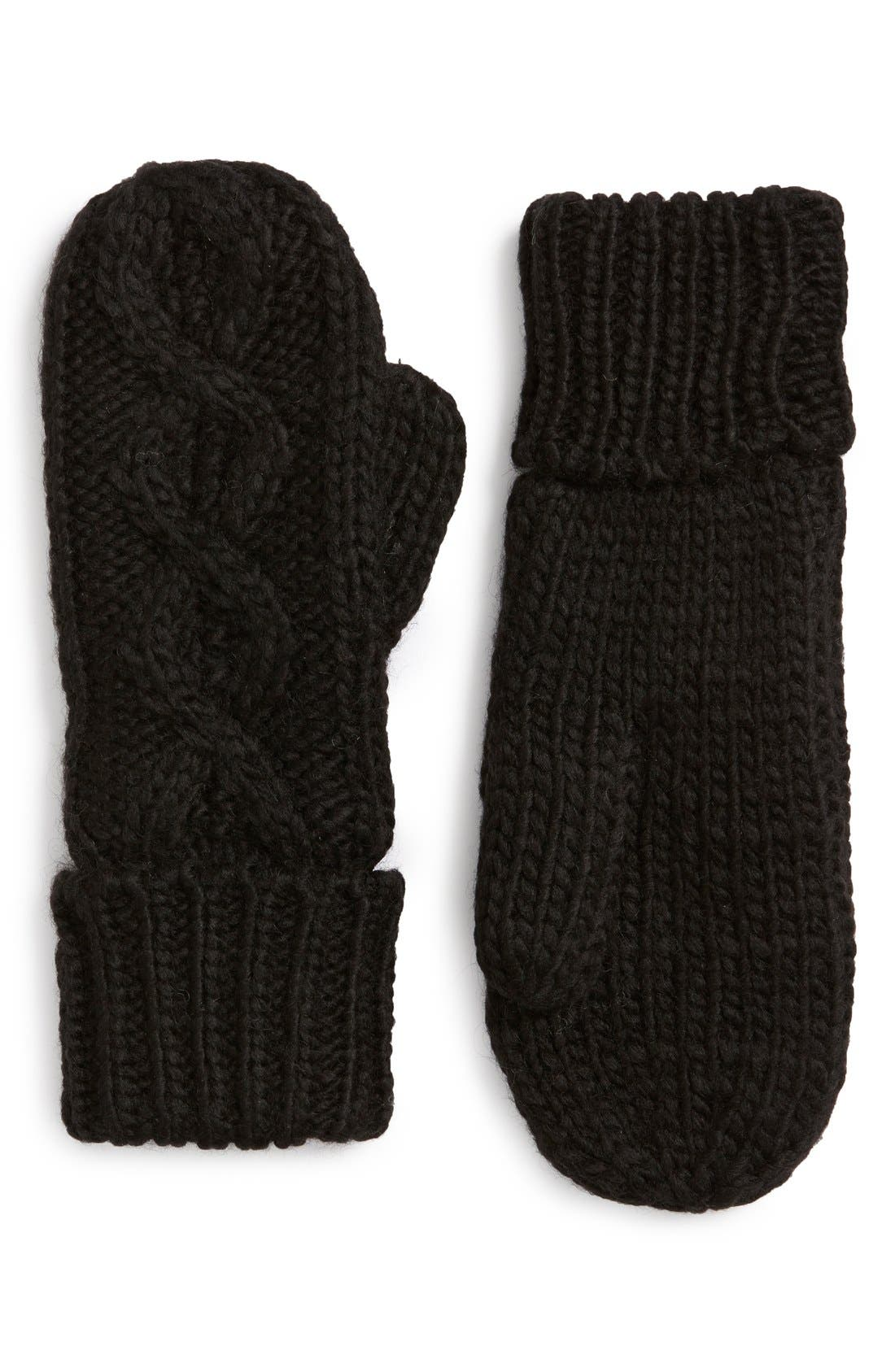 'Betto' Cable Knit Mittens,                             Main thumbnail 1, color,                             Black
