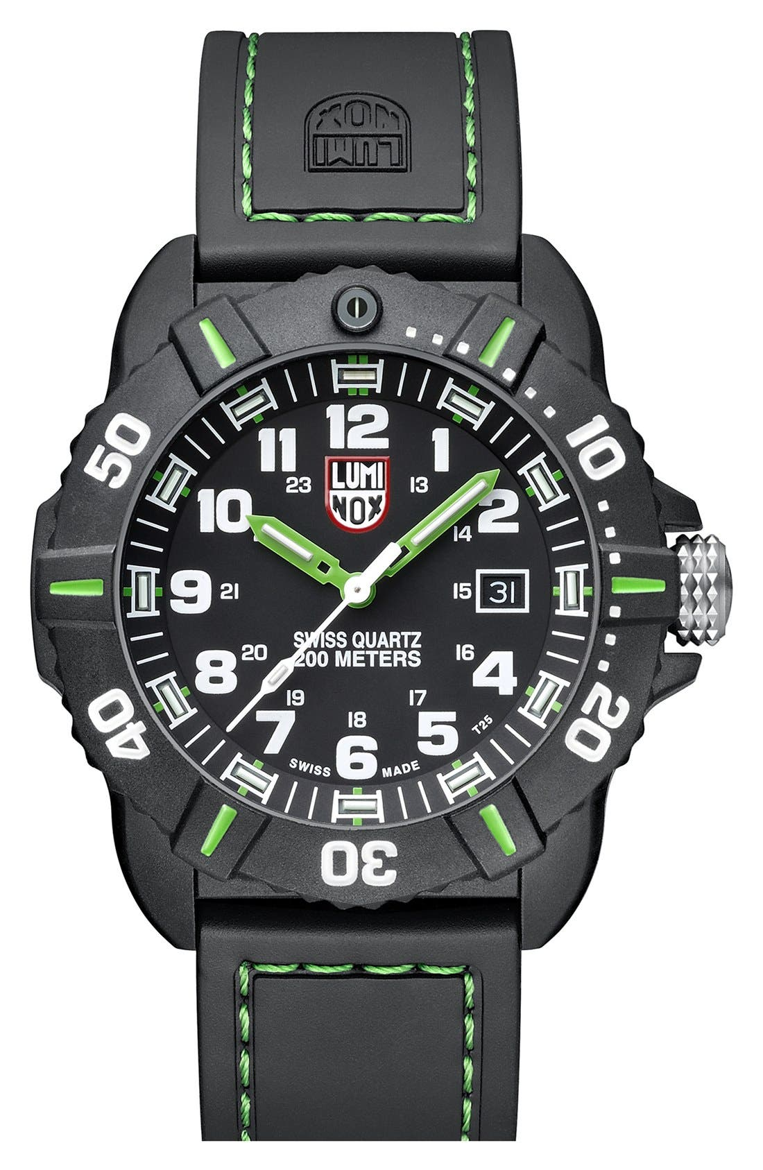 Alternate Image 1 Selected - Luminox 'Coronado' Rubber Strap Watch, 44mm