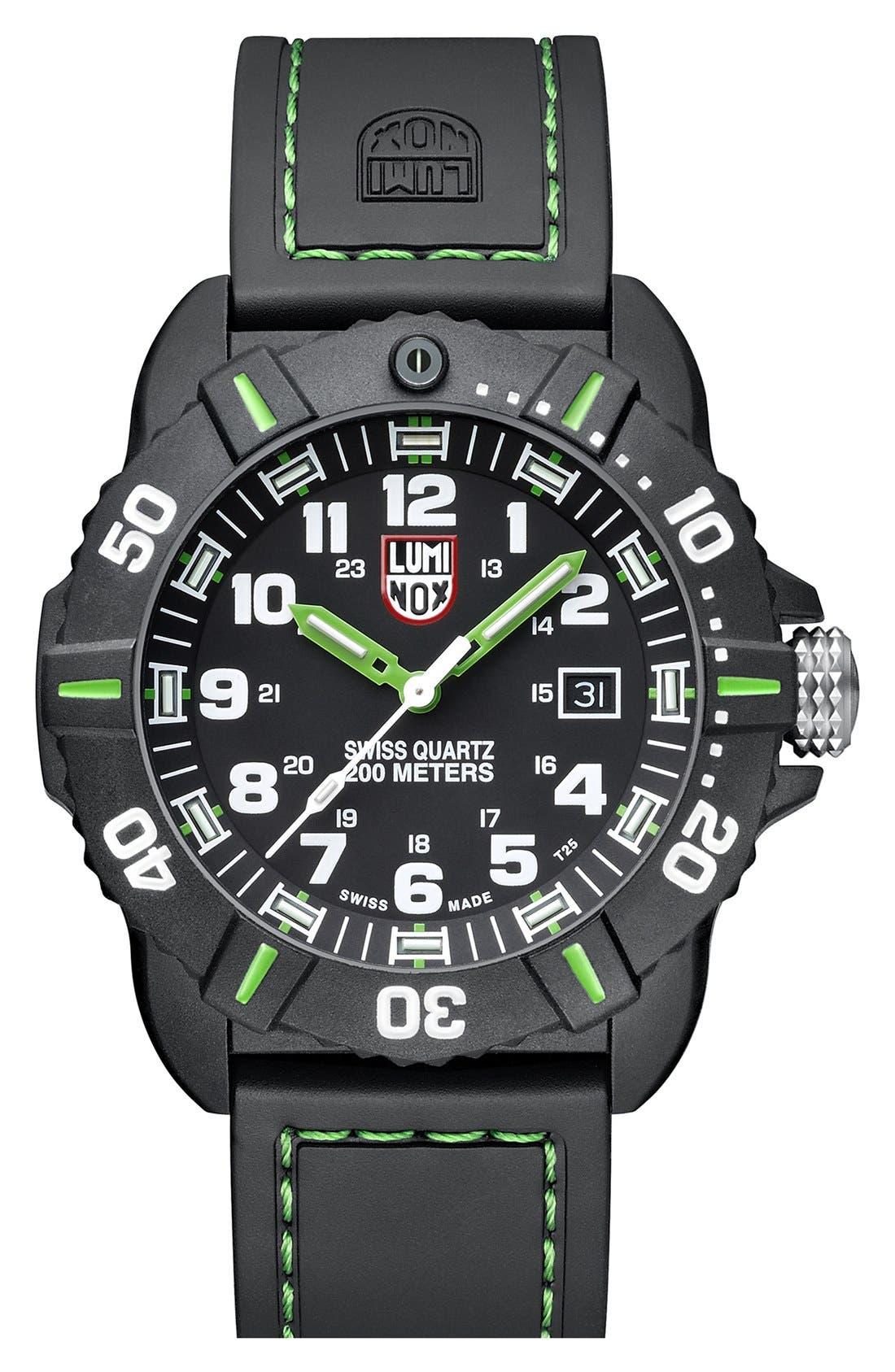 'Coronado' Rubber Strap Watch, 44mm,                         Main,                         color, Black/ Green