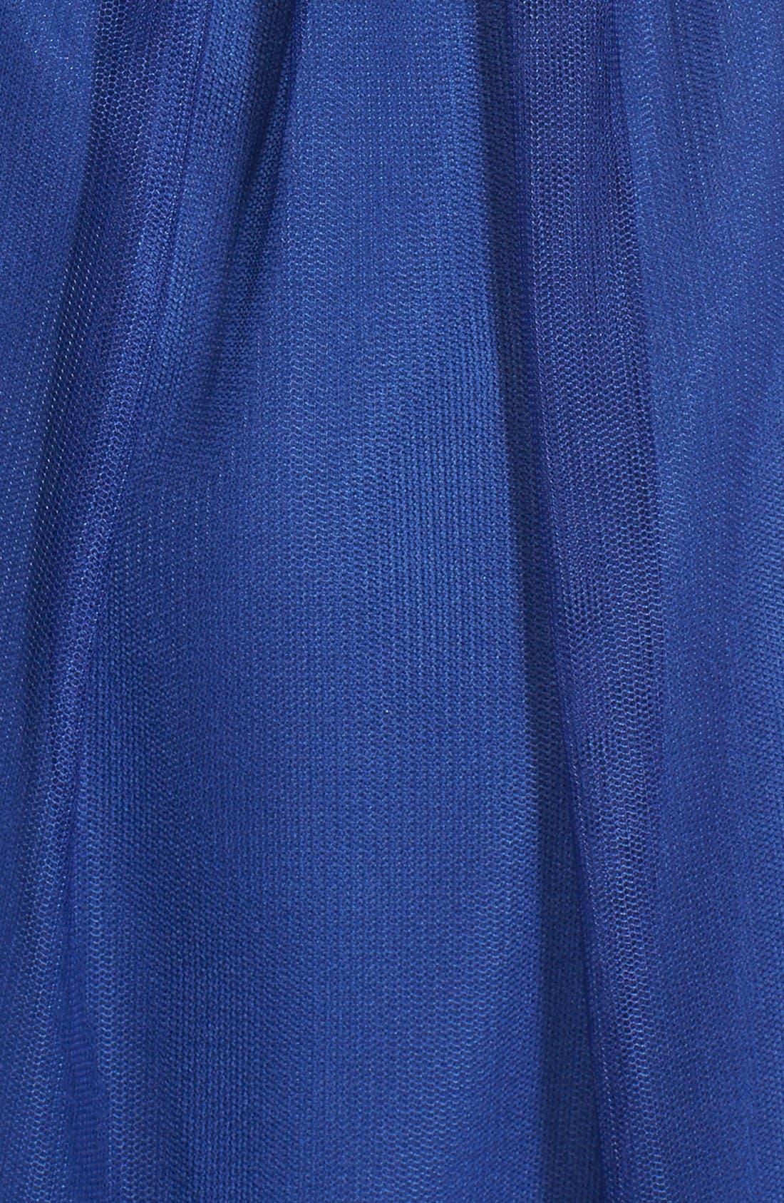 'Bailey' Mesh Skater Dress,                             Alternate thumbnail 5, color,                             Navy