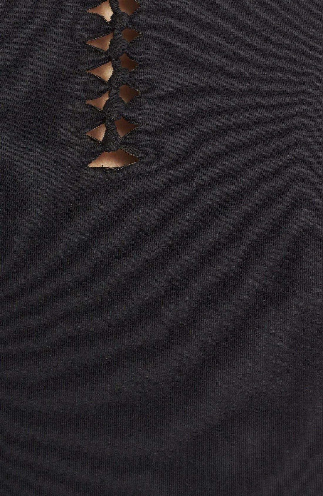 Alternate Image 4  - Fuzzi Braided Detail Cutout Leather Tank