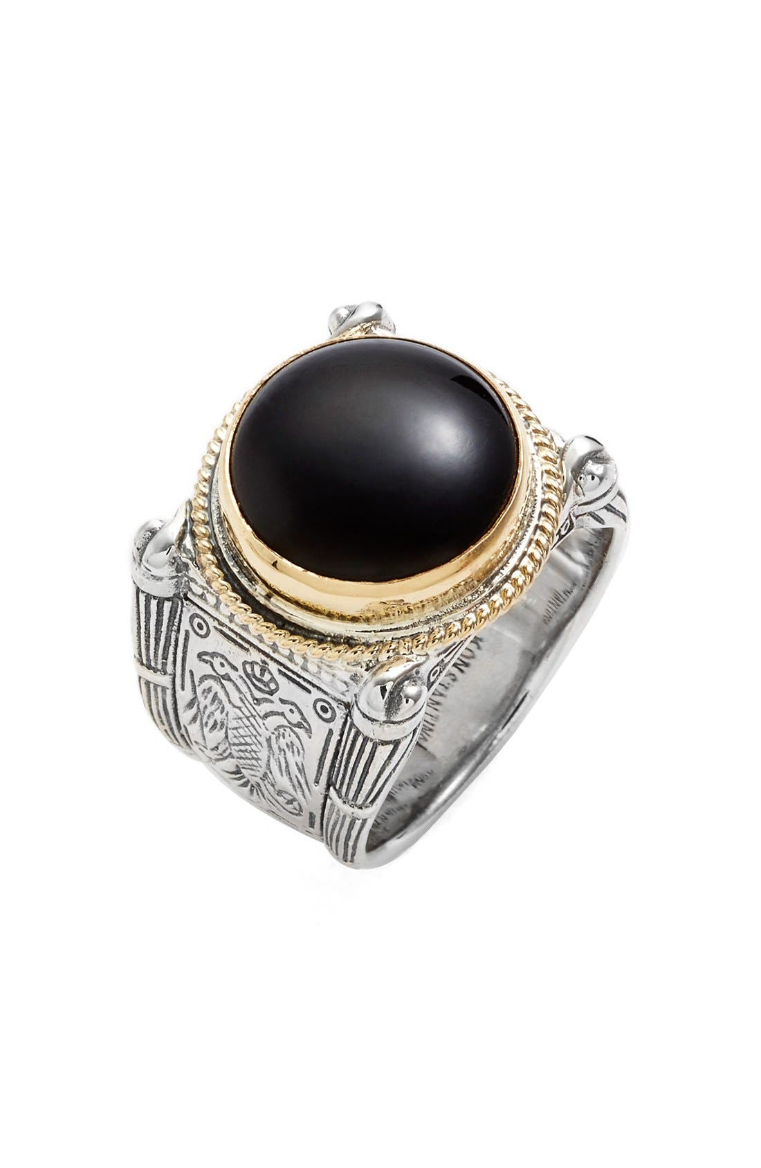 'Minos' Etched Black Onyx Ring,                             Main thumbnail 1, color,                             Silver/ Gold/ Black Onyx
