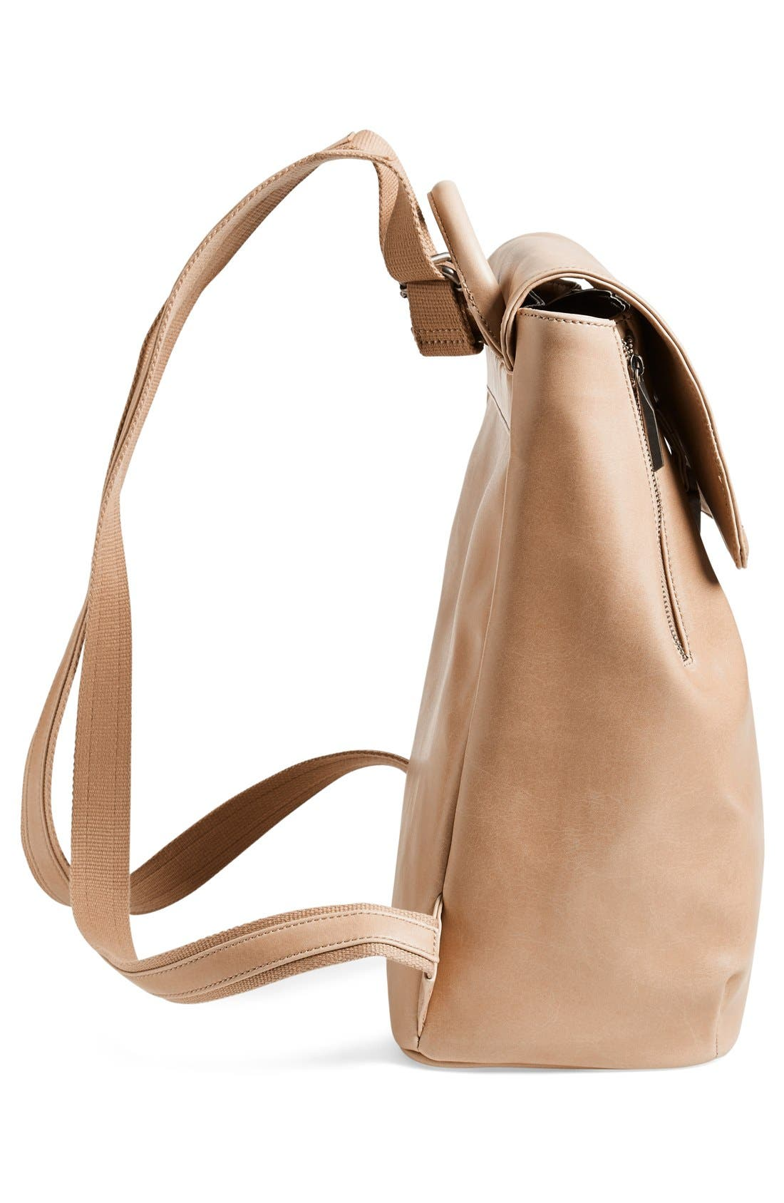 'Fabi' Faux Leather Laptop Backpack,                             Alternate thumbnail 5, color,                             Cardamom