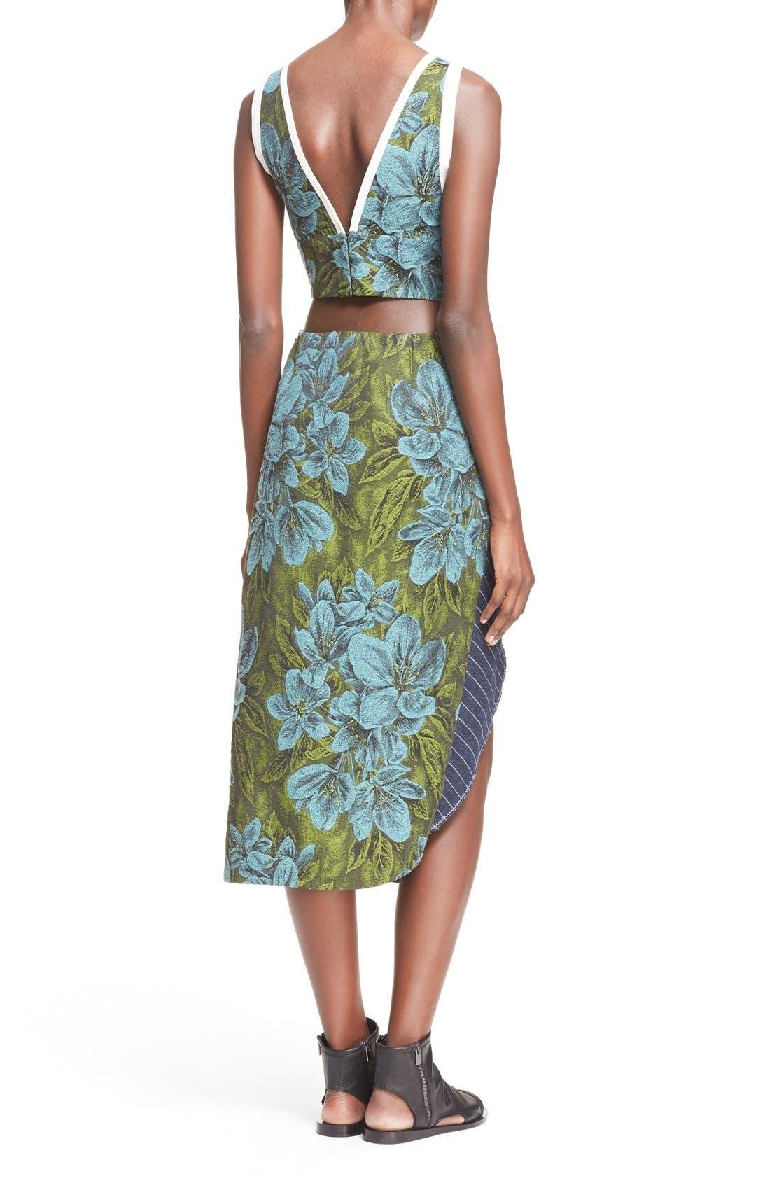 Side Cutout Ruffle Floral Jacquard Dress,                             Alternate thumbnail 2, color,                             Leaf