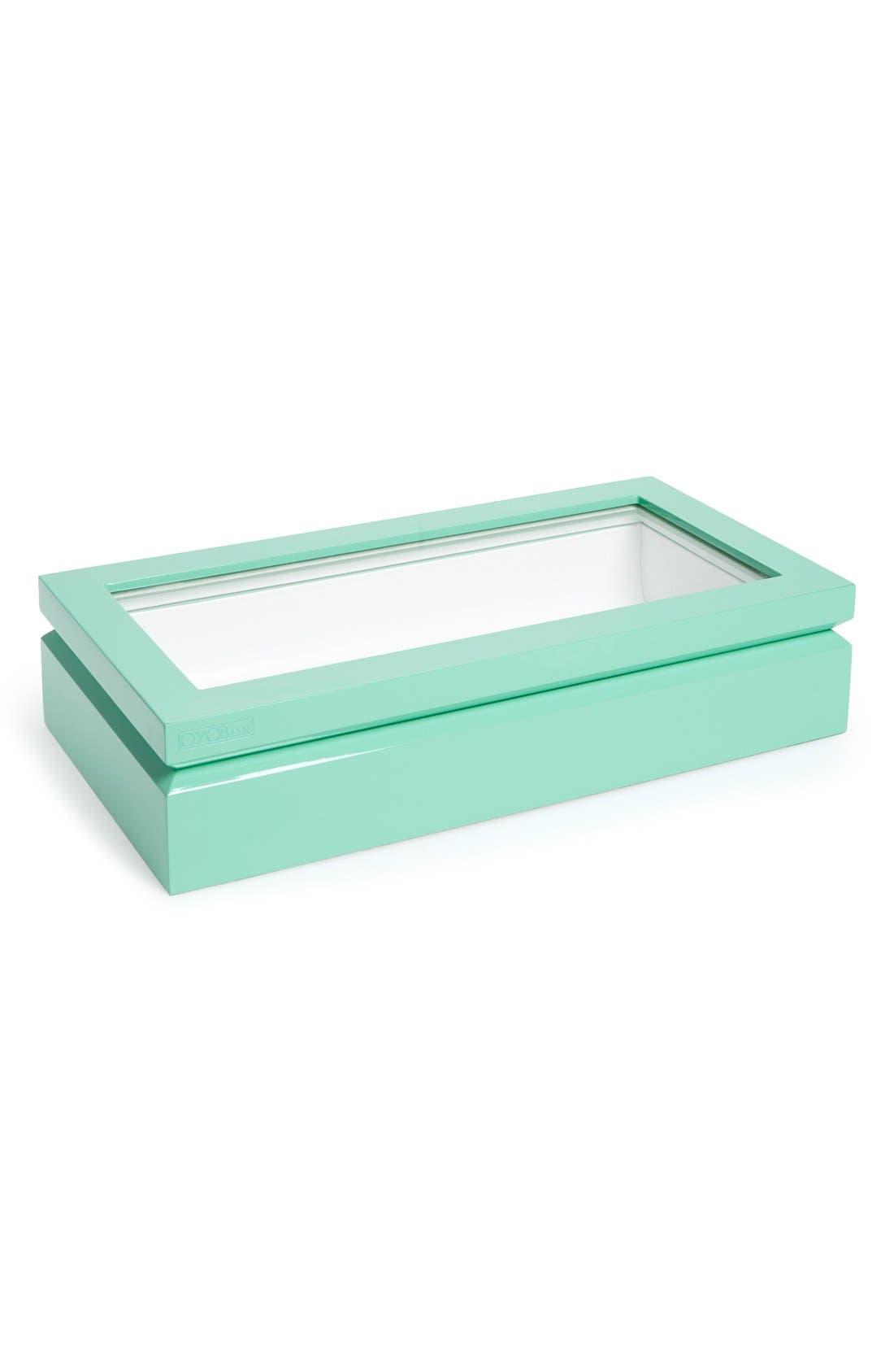 Lacquered Wood Window Top Eyewear Organizer Case,                             Main thumbnail 1, color,                             Aqua