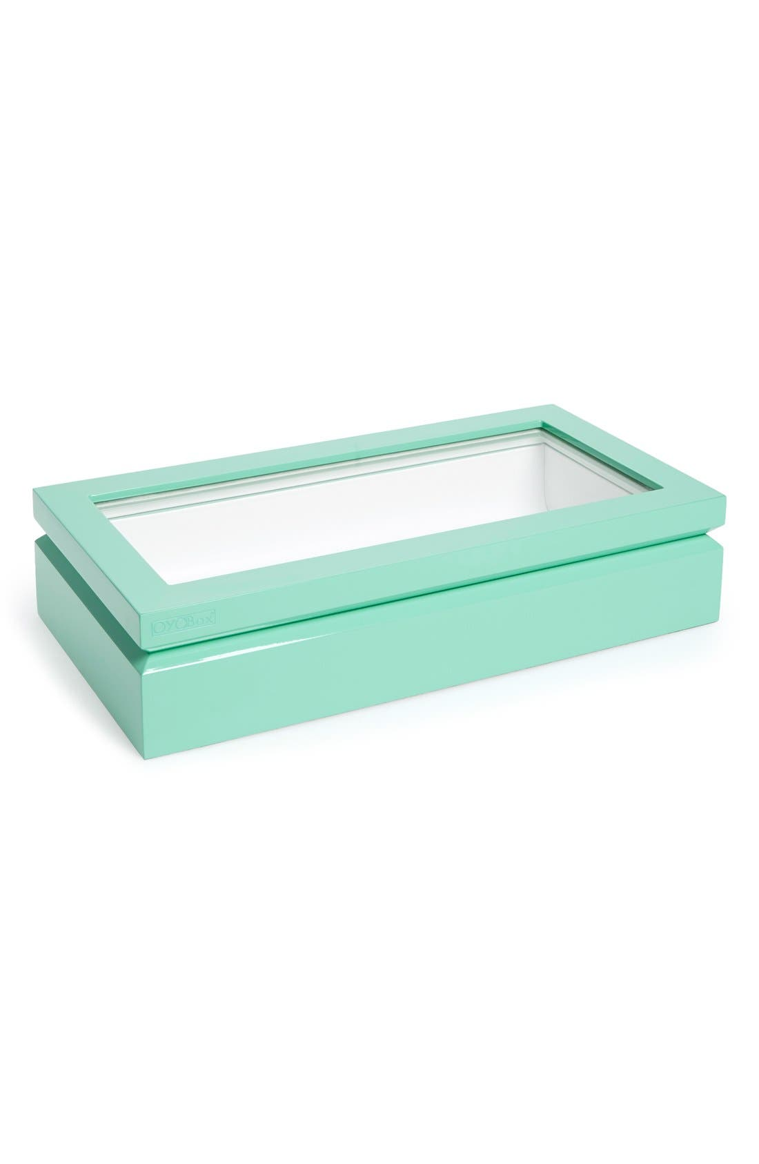 Lacquered Wood Window Top Eyewear Organizer Case,                         Main,                         color, Aqua