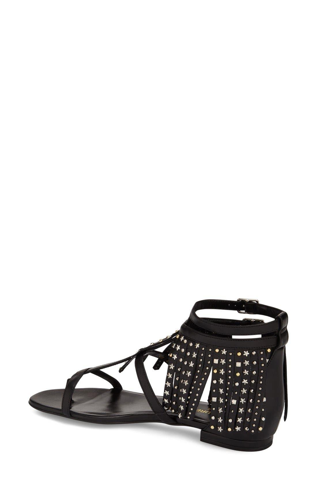 Alternate Image 2  - Saint Laurent 'Nu' Studded Fringe Sandal (Women)