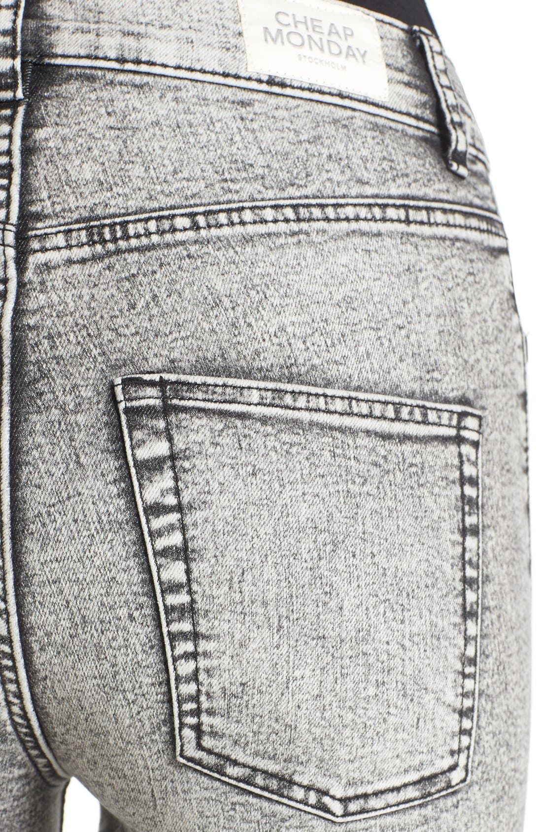Alternate Image 4  - Cheap Monday 'High Spray' Distressed High Rise Skinny Jeans (Master Grey)