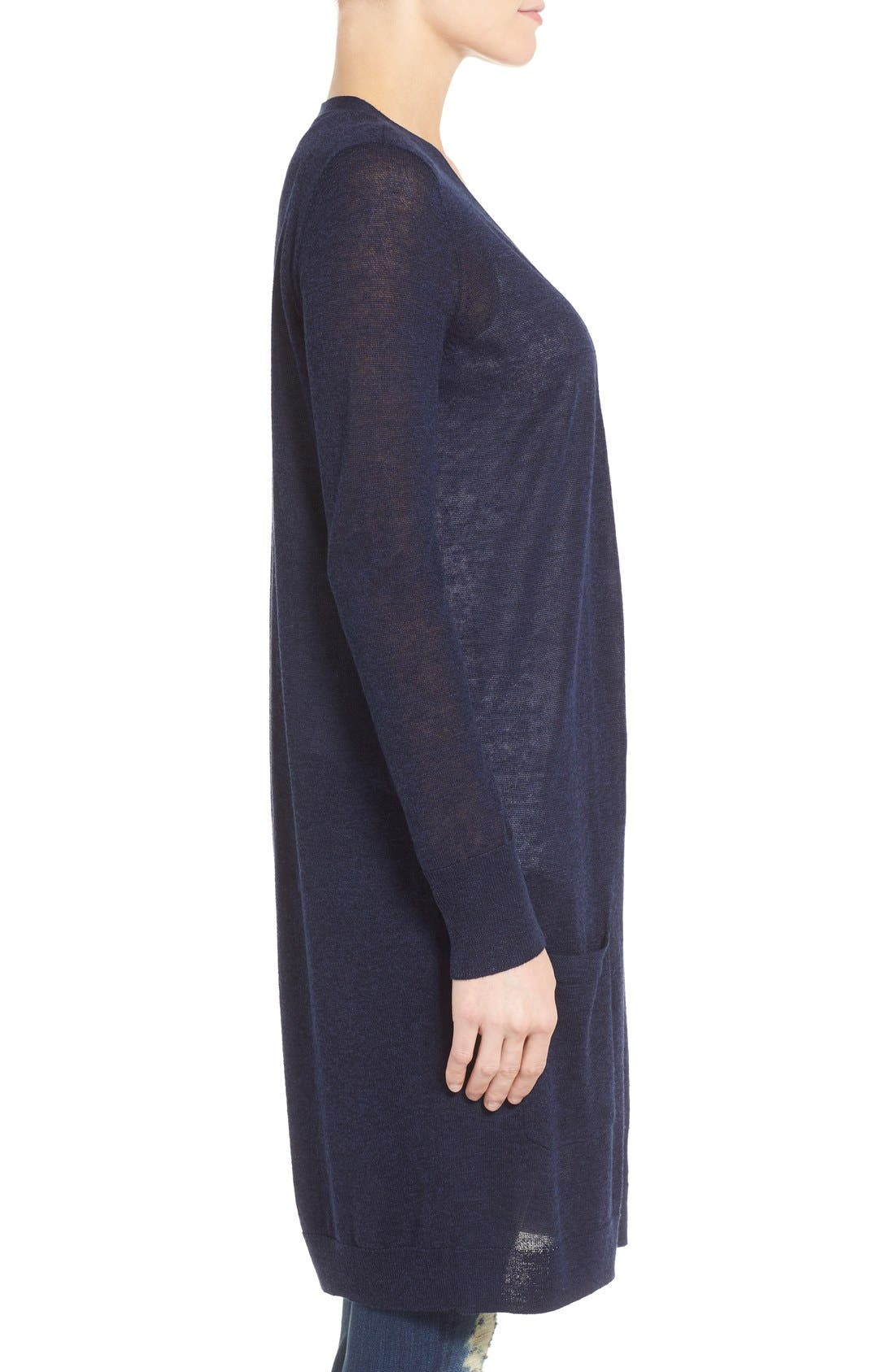 Alternate Image 3  - Halogen® Long Linen Blend Cardigan (Regular & Petite)