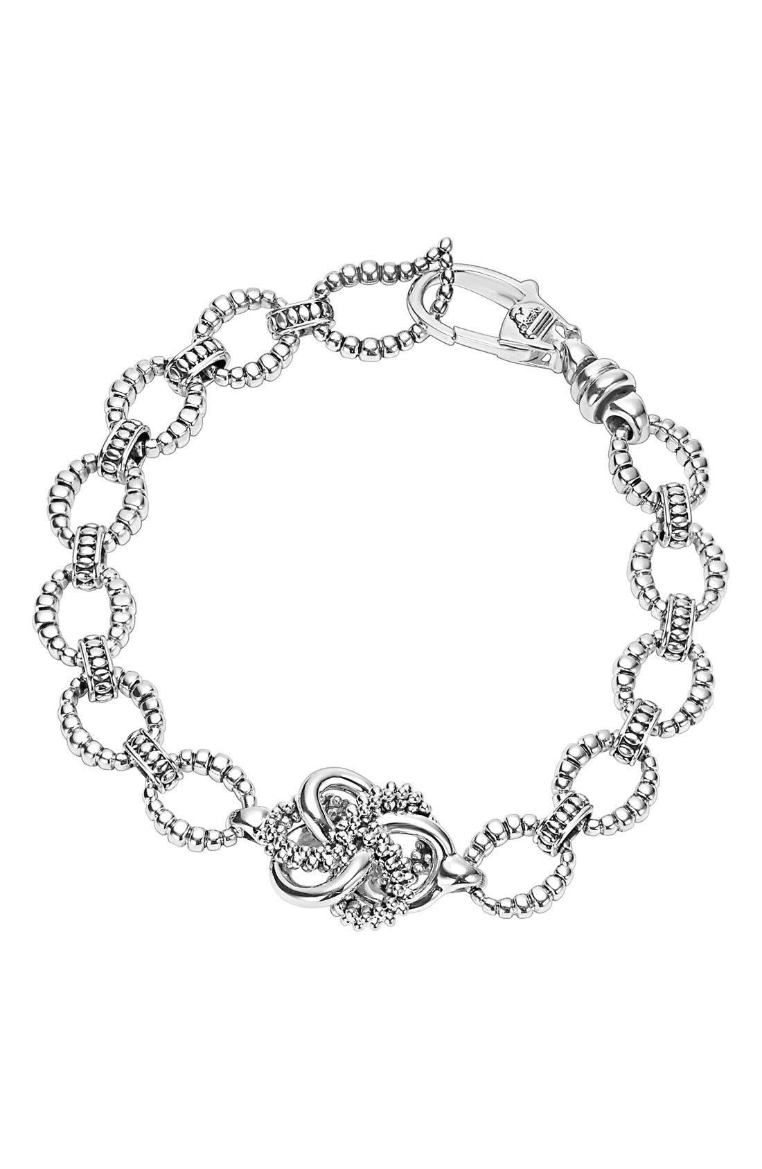 'Love Knot' Link Bracelet,                         Main,                         color, Sterling Silver