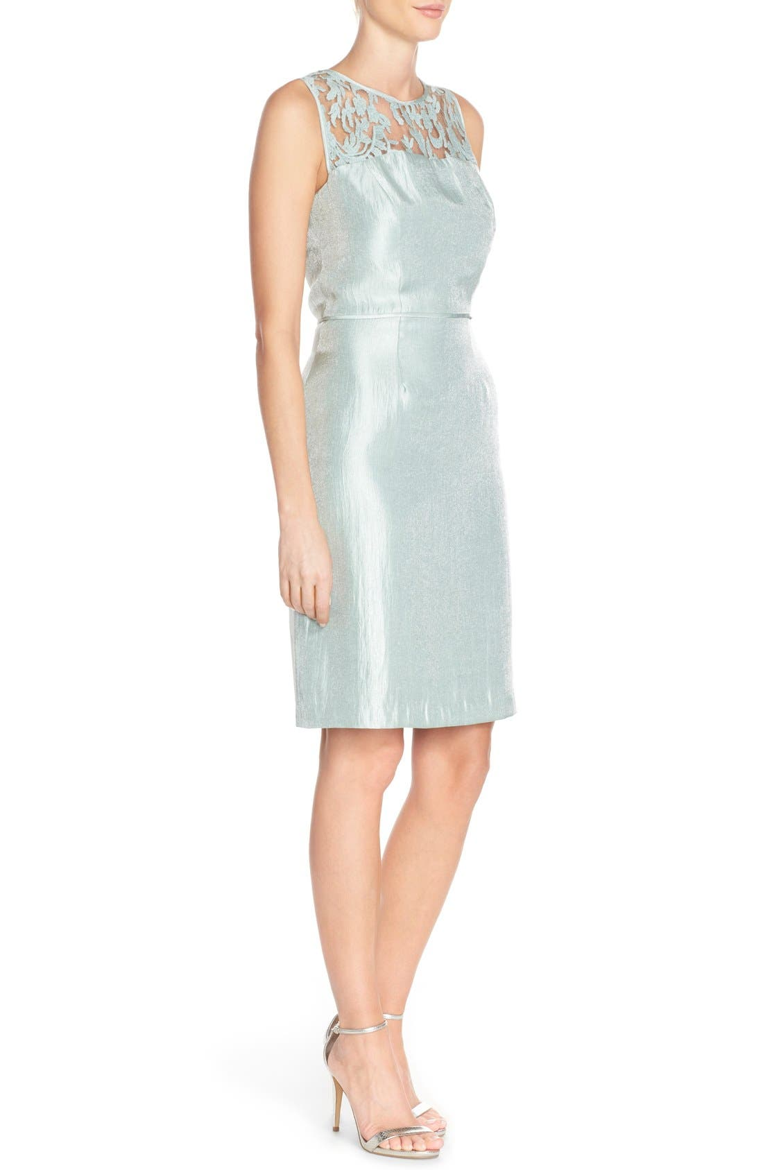 Embroidered Lace Illusion Yoke Sheath Dress &Topper,                             Alternate thumbnail 4, color,                             Icy Mint