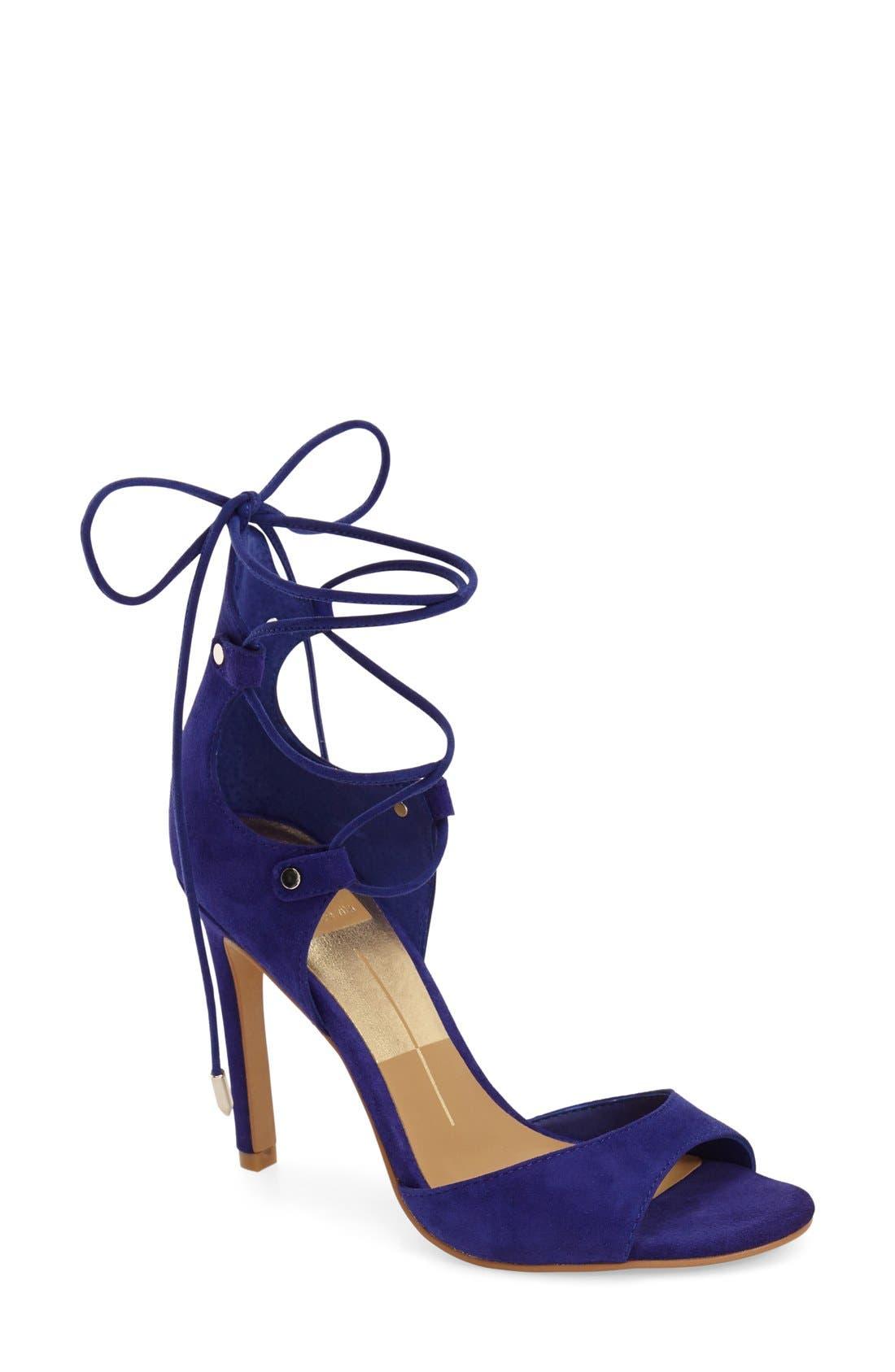 'Hazely' Lace-Up Sandal,                             Main thumbnail 1, color,                             Blue Suede