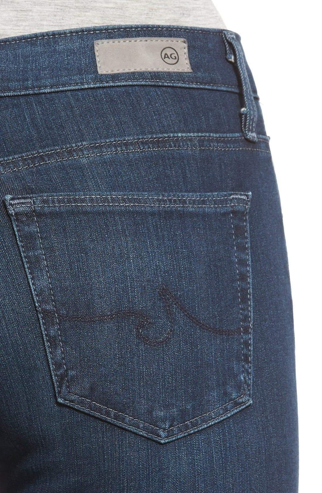 Alternate Image 4  - AG 'The Farrah' High Rise Skinny Jeans (Crater)