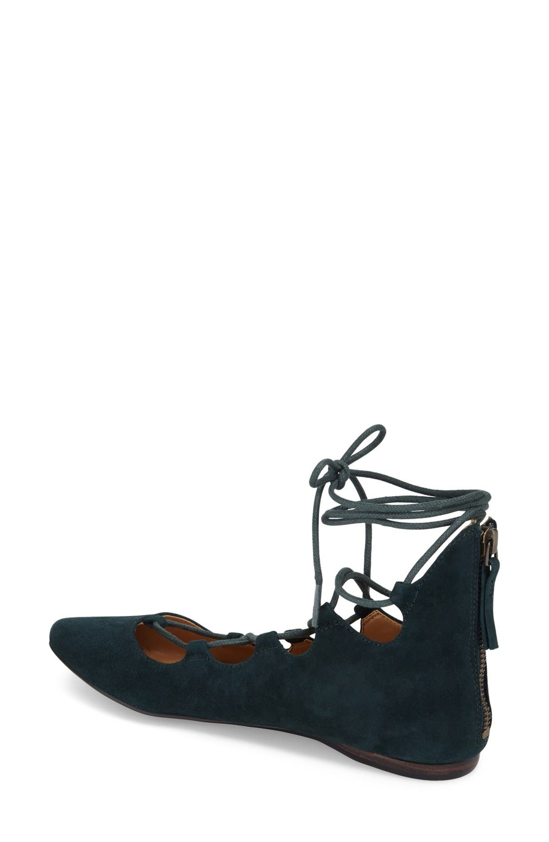 'Sign Me Up' Ghillie Flat,                             Alternate thumbnail 2, color,                             Dark Green Suede