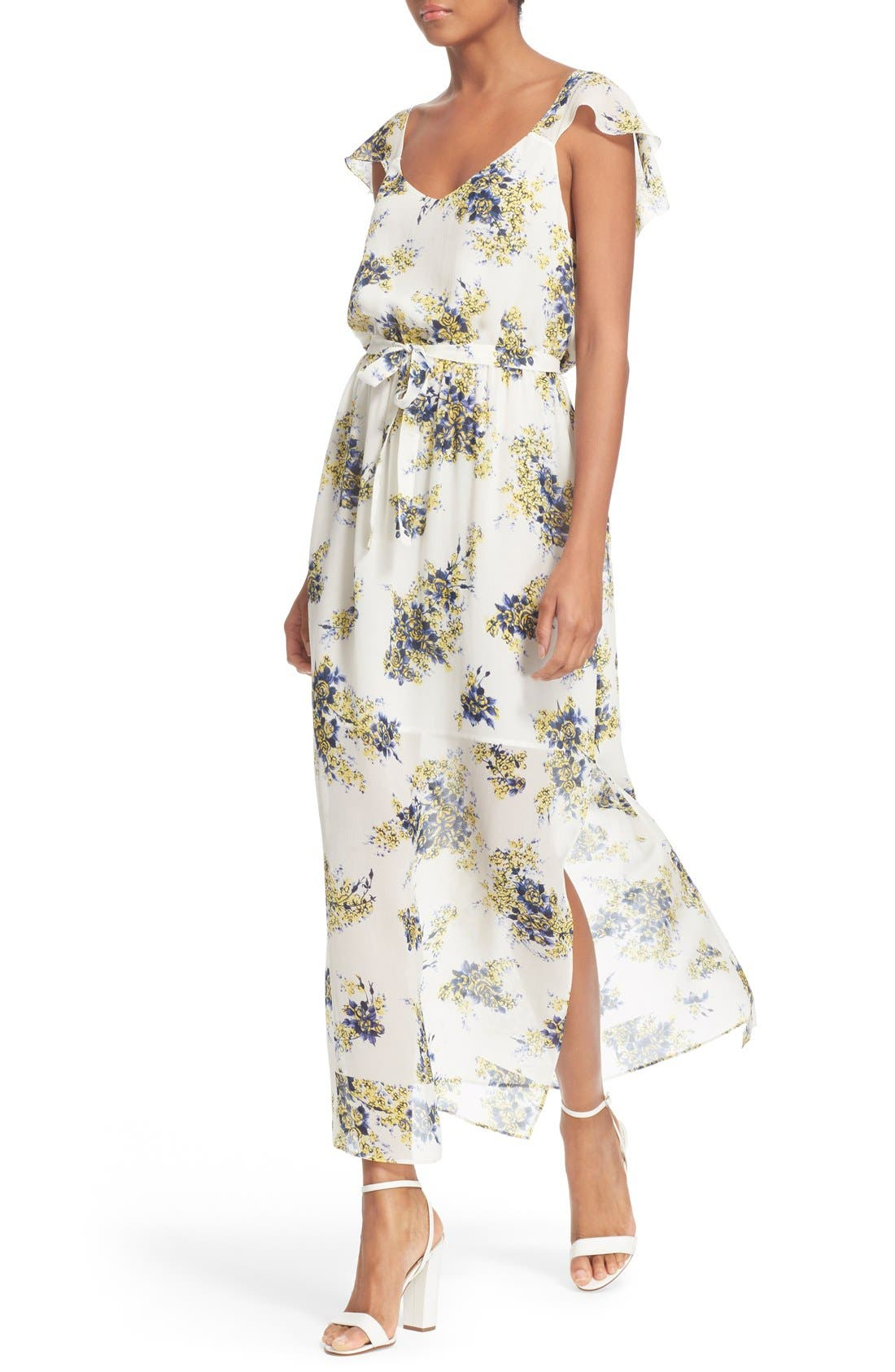 'Astilbe' Floral Print Silk Maxi Dress,                             Main thumbnail 1, color,                             Porcelain