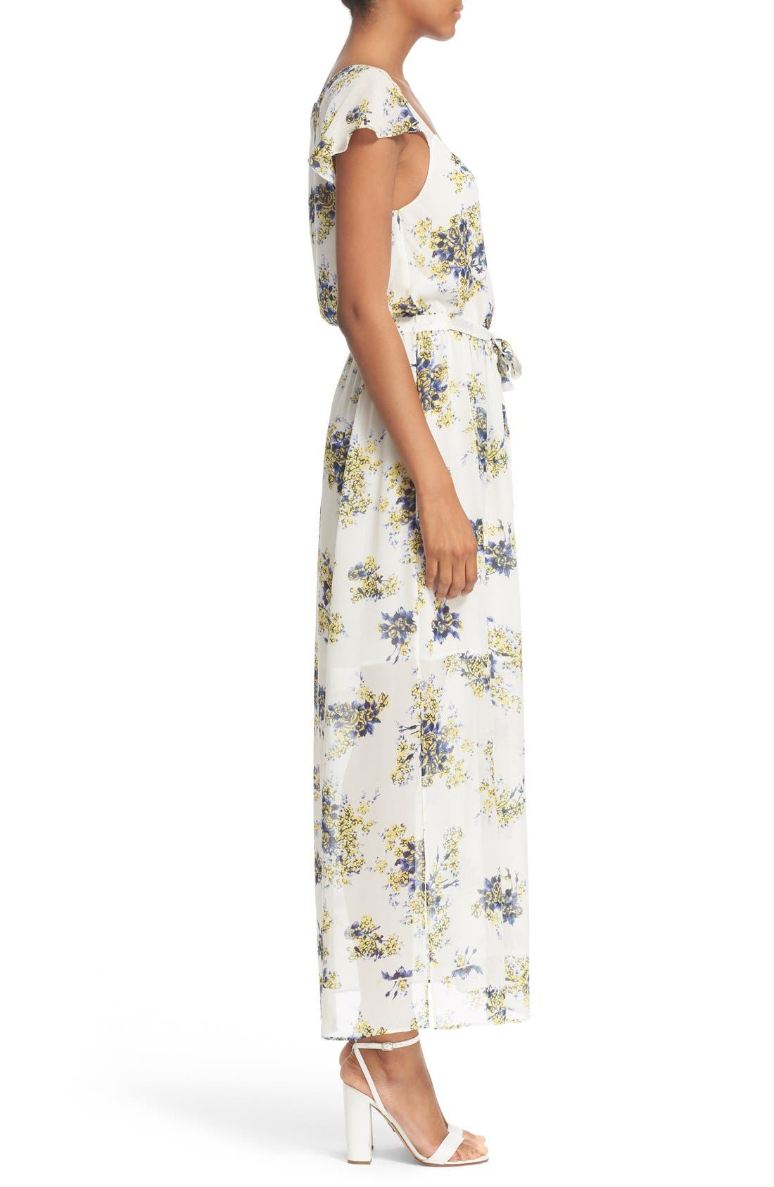 'Astilbe' Floral Print Silk Maxi Dress,                             Alternate thumbnail 3, color,                             Porcelain