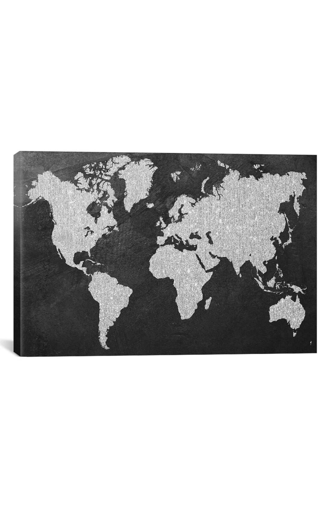 Main Image - iCanvas 'Grey Map' Giclée Print Canvas Art