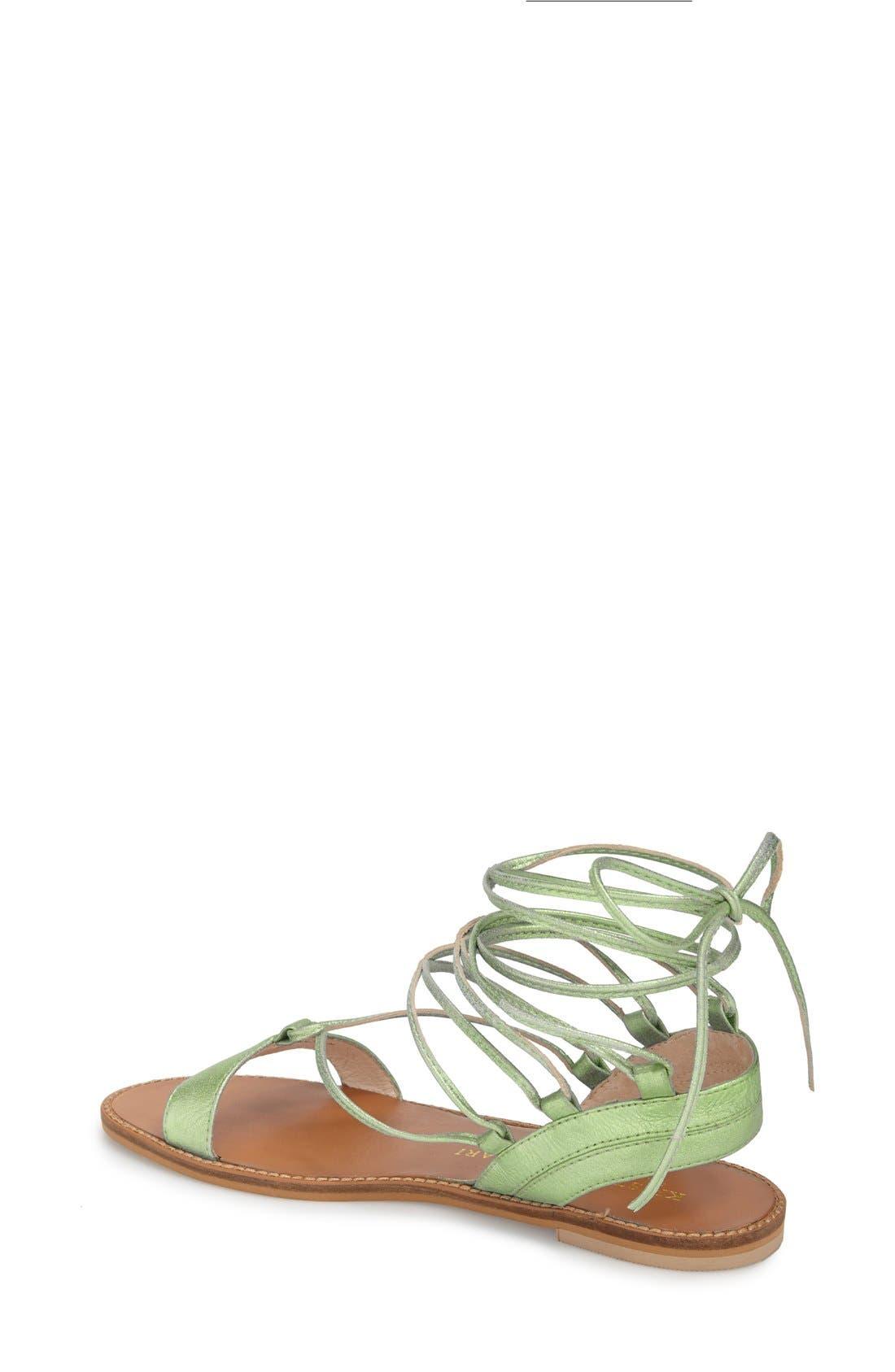 'Belle' Lace-Up Sandal,                             Alternate thumbnail 2, color,                             Mint Leather