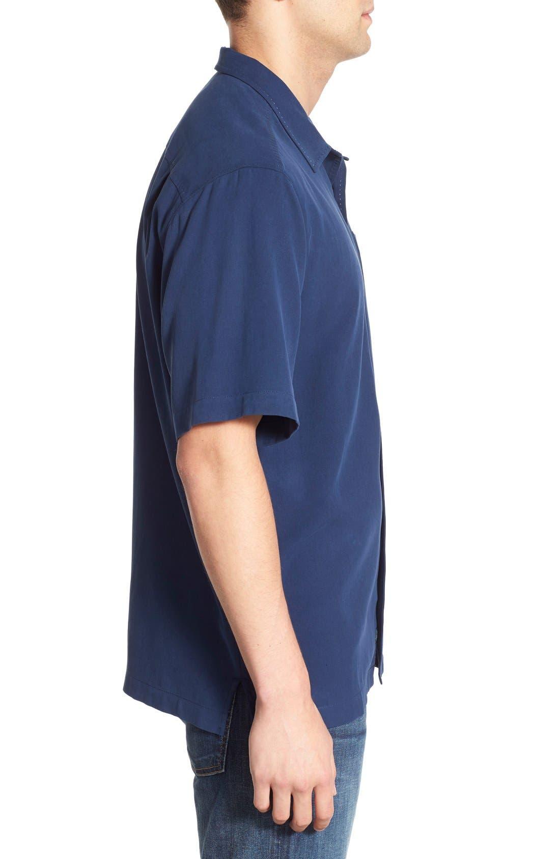 'Catalina Twill' Original Fit Silk Camp Shirt,                             Alternate thumbnail 3, color,                             Navy