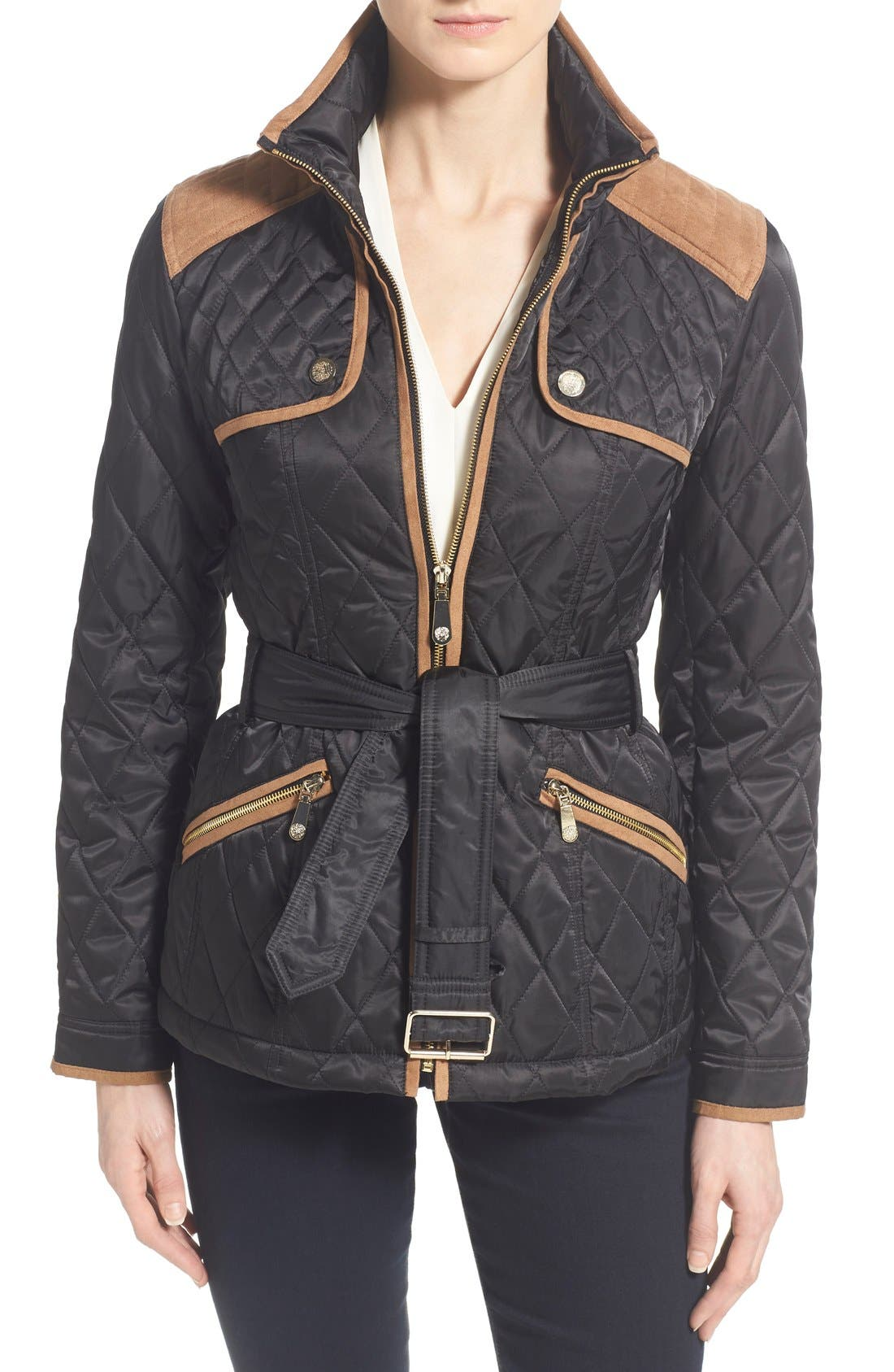 Faux Suede Trim Belted Quilted Jacket,                             Main thumbnail 1, color,                             Black/ Ginger