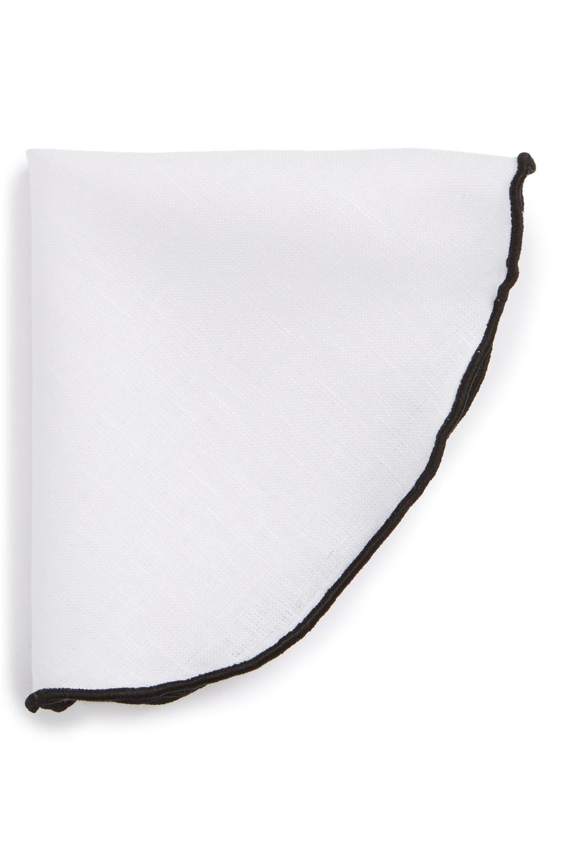 Linen Pocket Round,                             Main thumbnail 1, color,                             White/ Black Trim