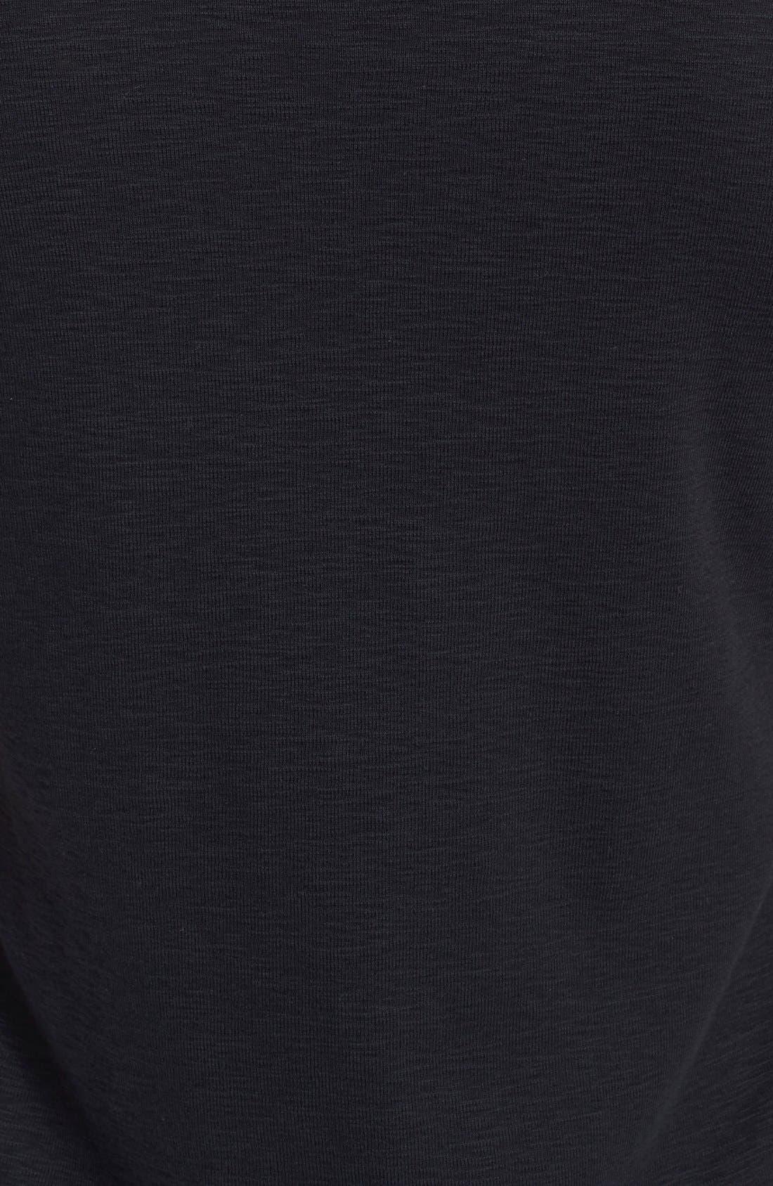 Ribbed Slub Cotton T-Shirt,                             Alternate thumbnail 5, color,                             Black