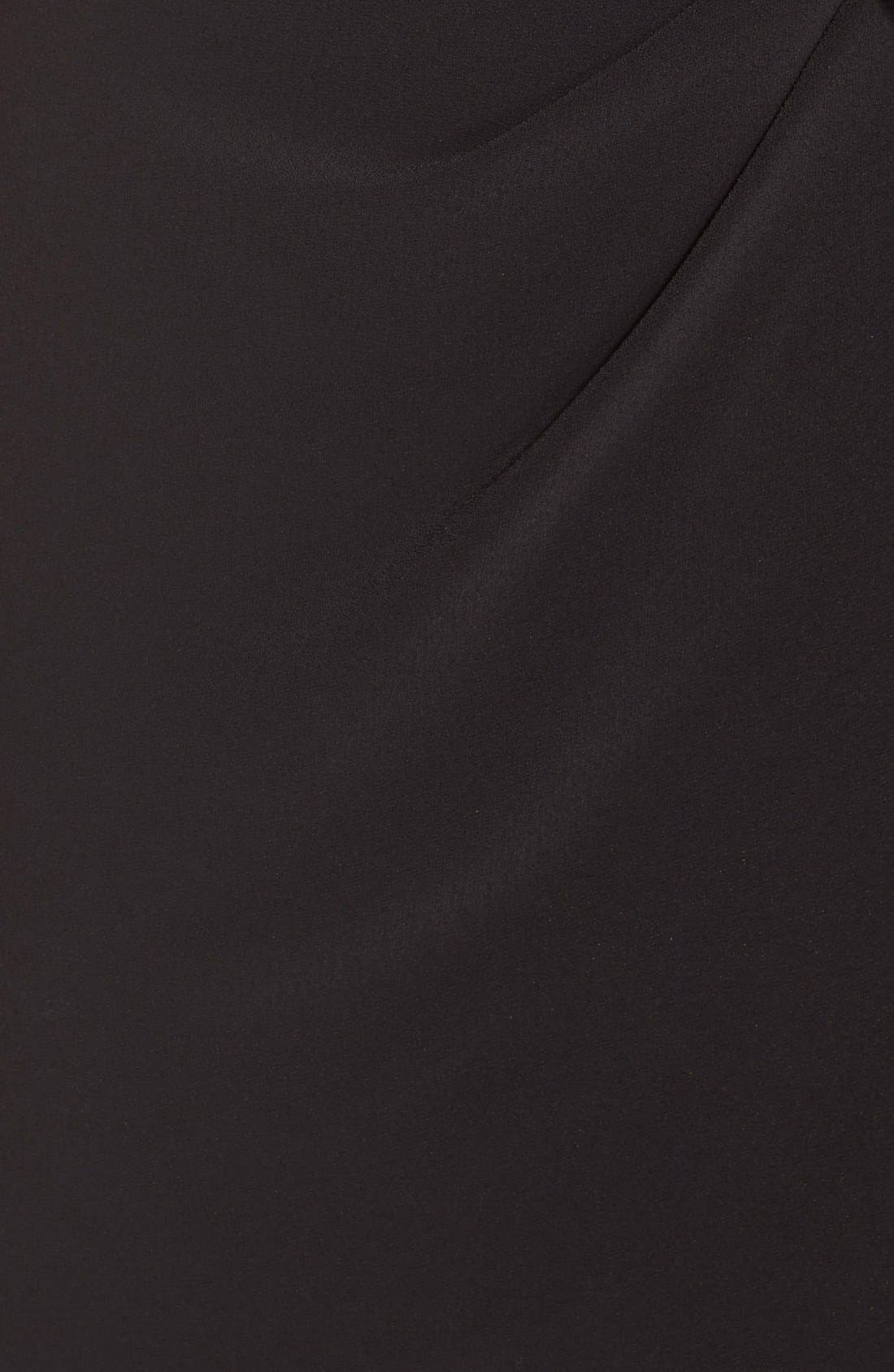 Side Tie Jersey Sheath Dress,                             Alternate thumbnail 6, color,                             Black