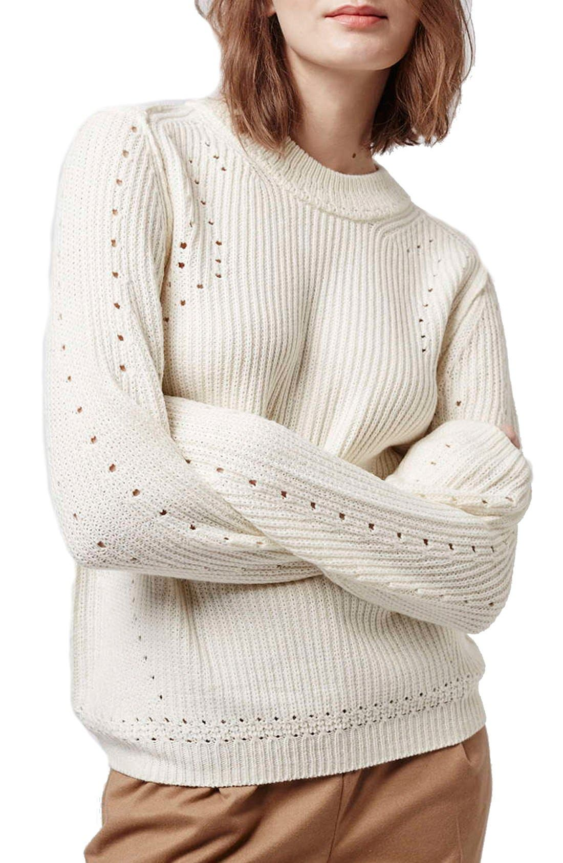 Alternate Image 1 Selected - Topshop Pointelle Ribbed Crewneck Sweater