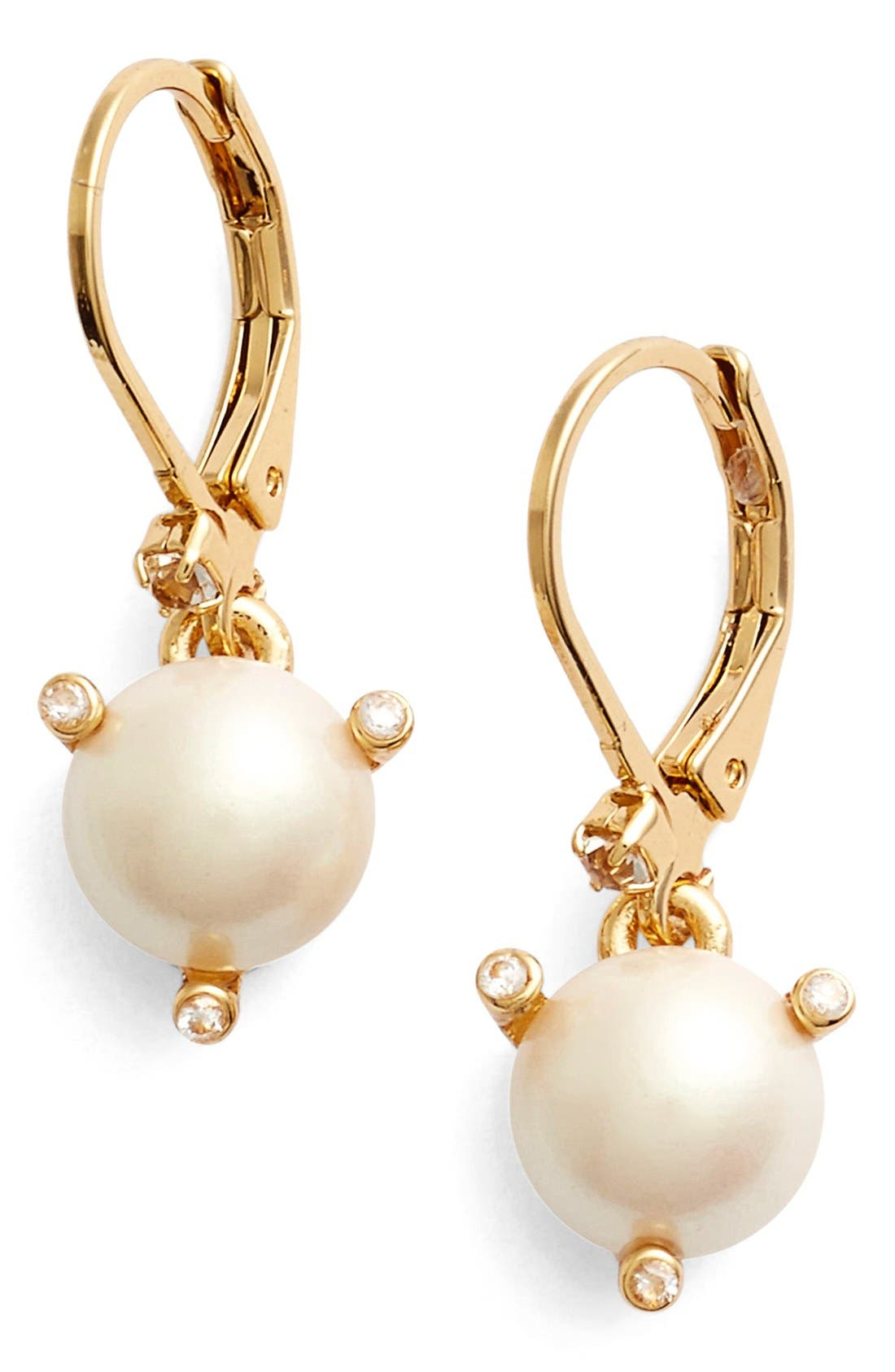 'rise and shine' faux pearl lever back earrings,                         Main,                         color, Cream