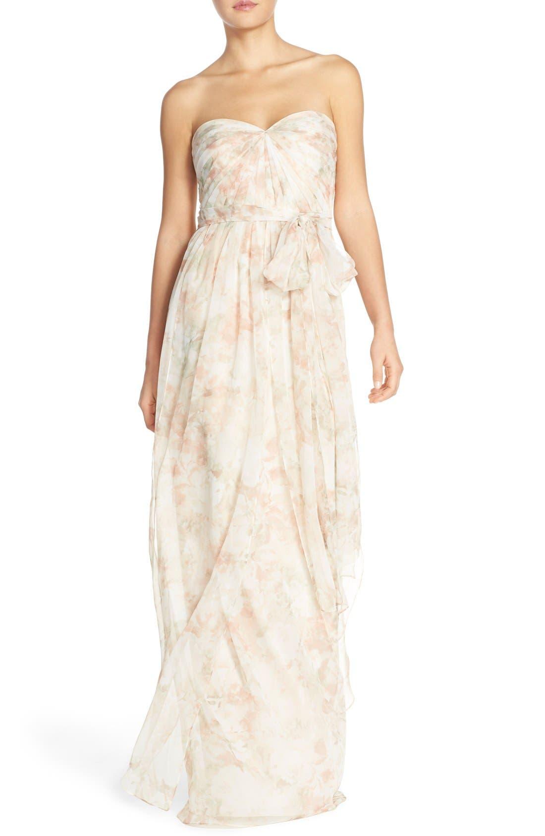 Nyla Floral Print Convertible Strapless Chiffon Gown,                             Main thumbnail 1, color,                             Blush Multi