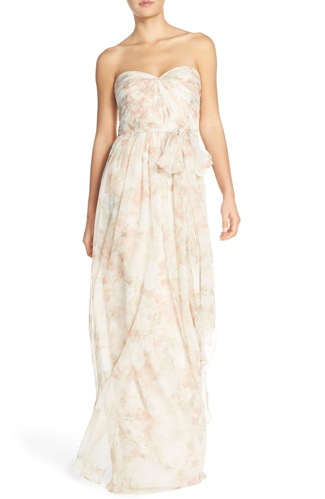 Nyla Floral Print Convertible Strapless Chiffon Gown,                         Main,                         color, Blush Multi