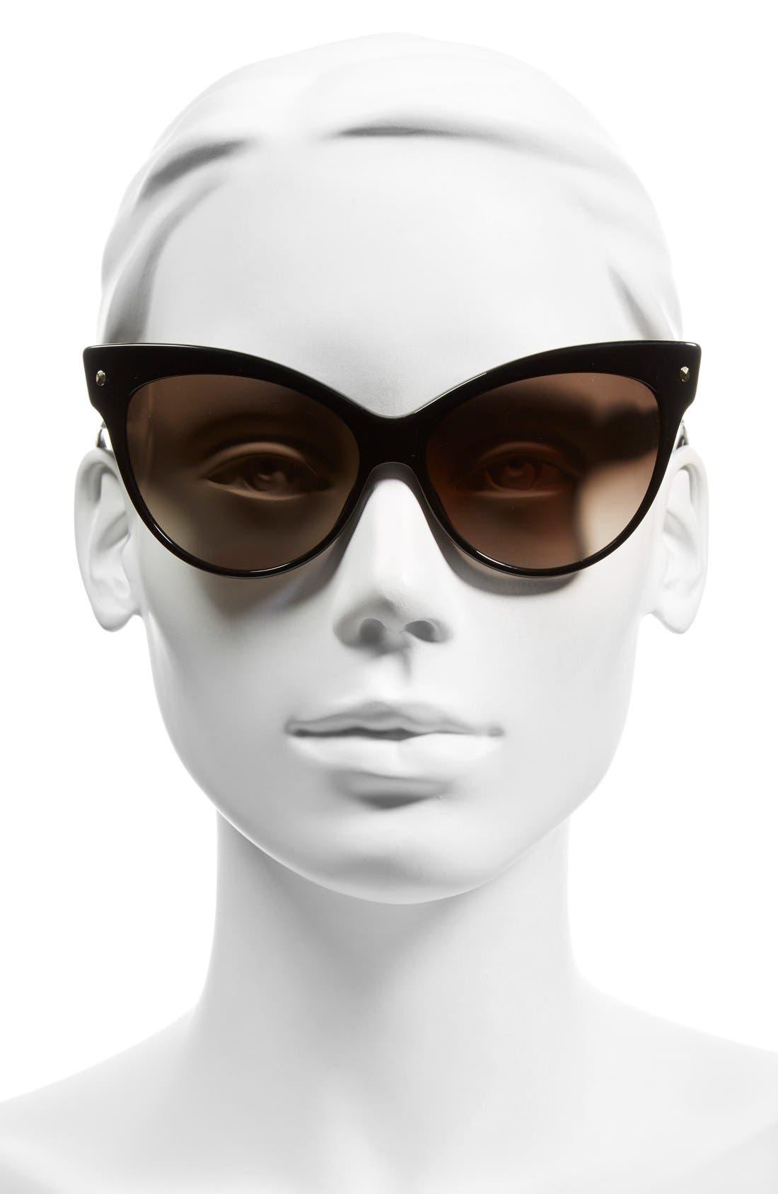 'Mohotani' 58mm Cat Eye Sunglasses,                             Alternate thumbnail 2, color,                             Black