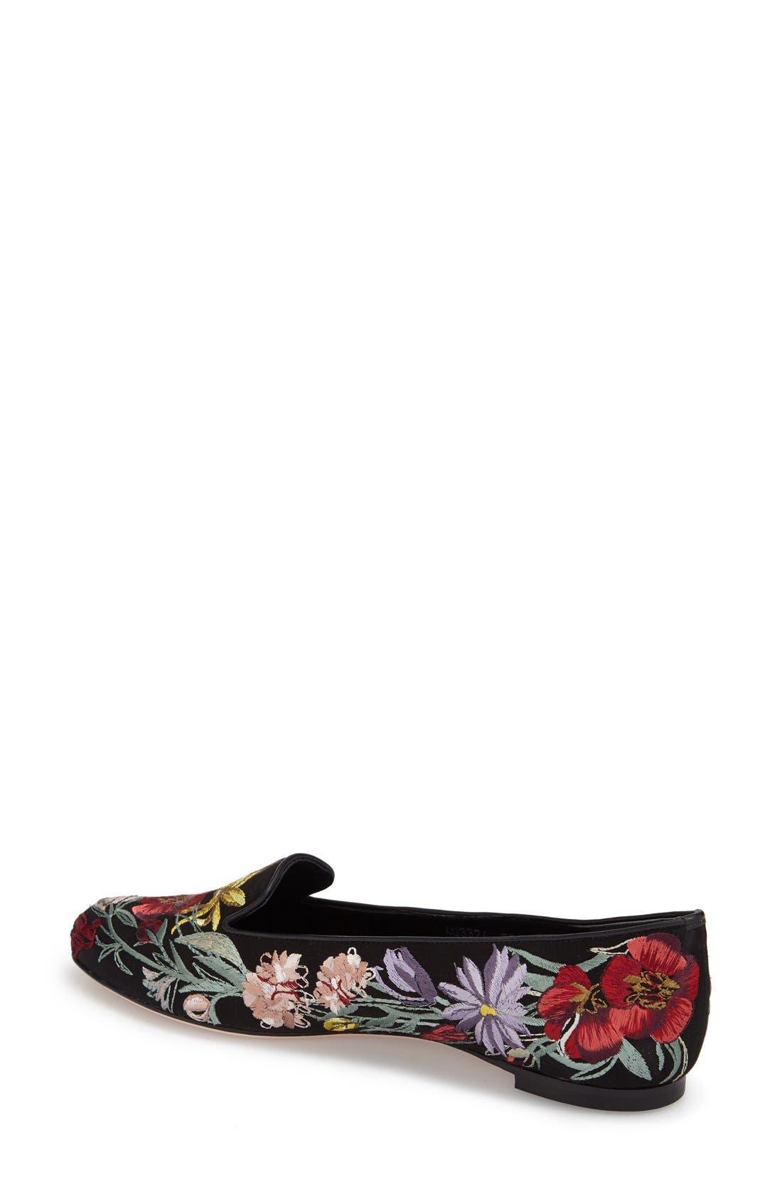Alternate Image 2  - Alexander McQueen Embroidered Flower Loafer (Women)