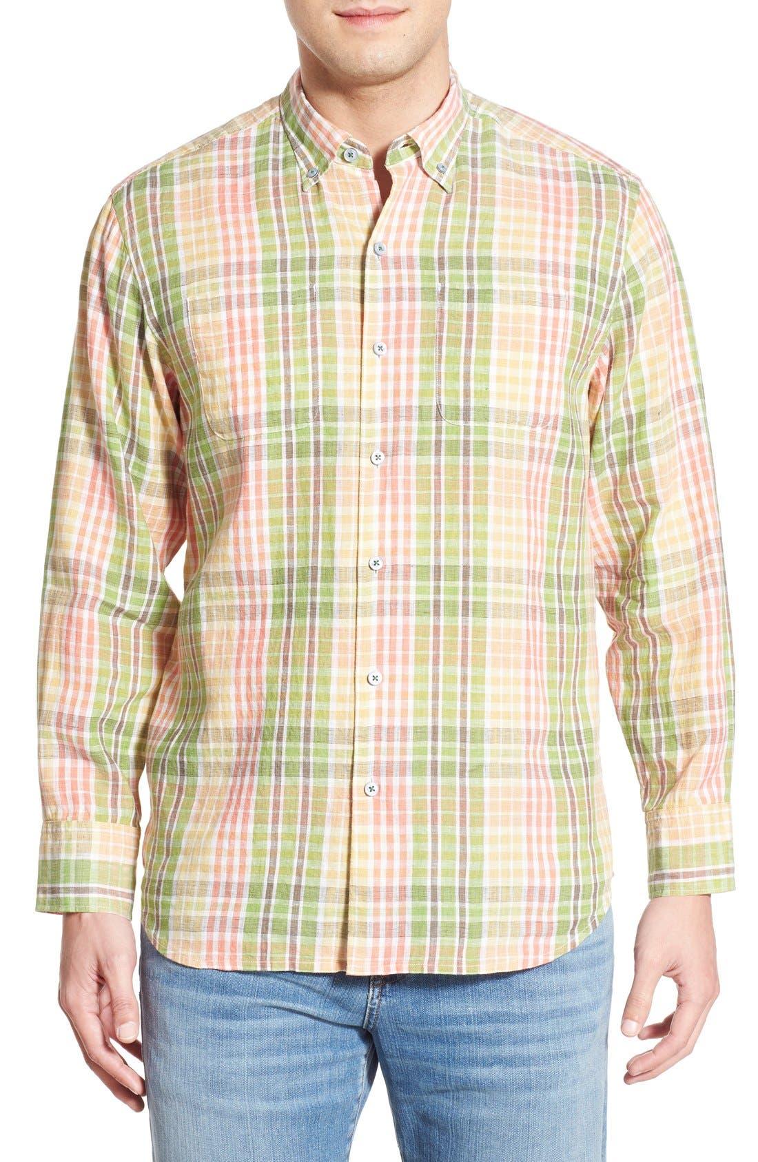 'Sun Direction' Regular Fit Plaid Sport Shirt,                         Main,                         color, Villa Yellow