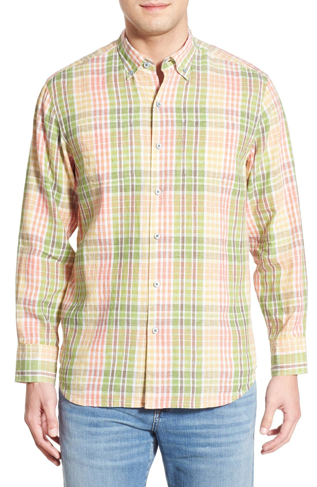 Tommy Bahama 'Sun Direction' Regular Fit Plaid Sport Shirt