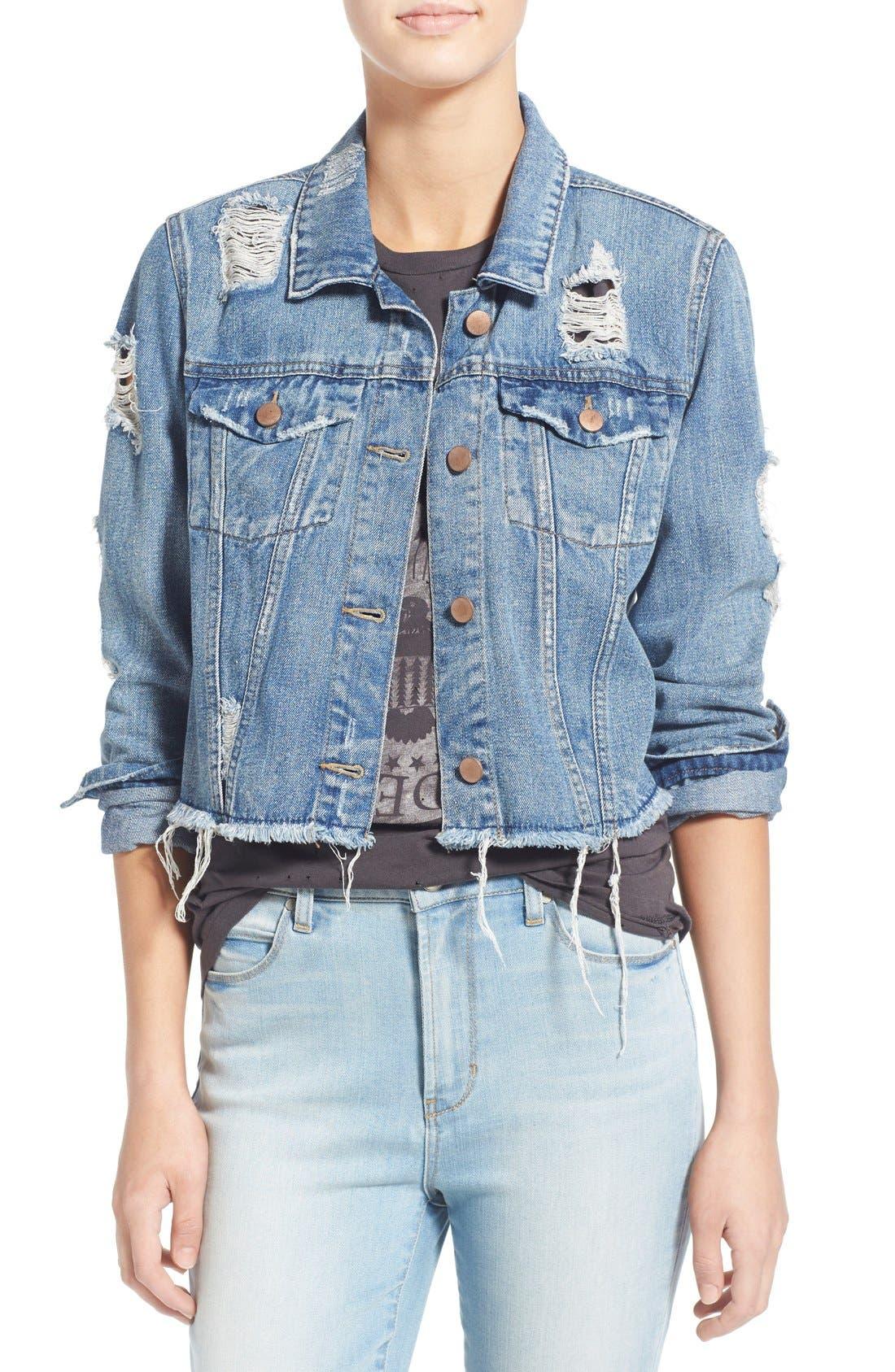 Main Image - Love, Fire Distressed Denim Jacket