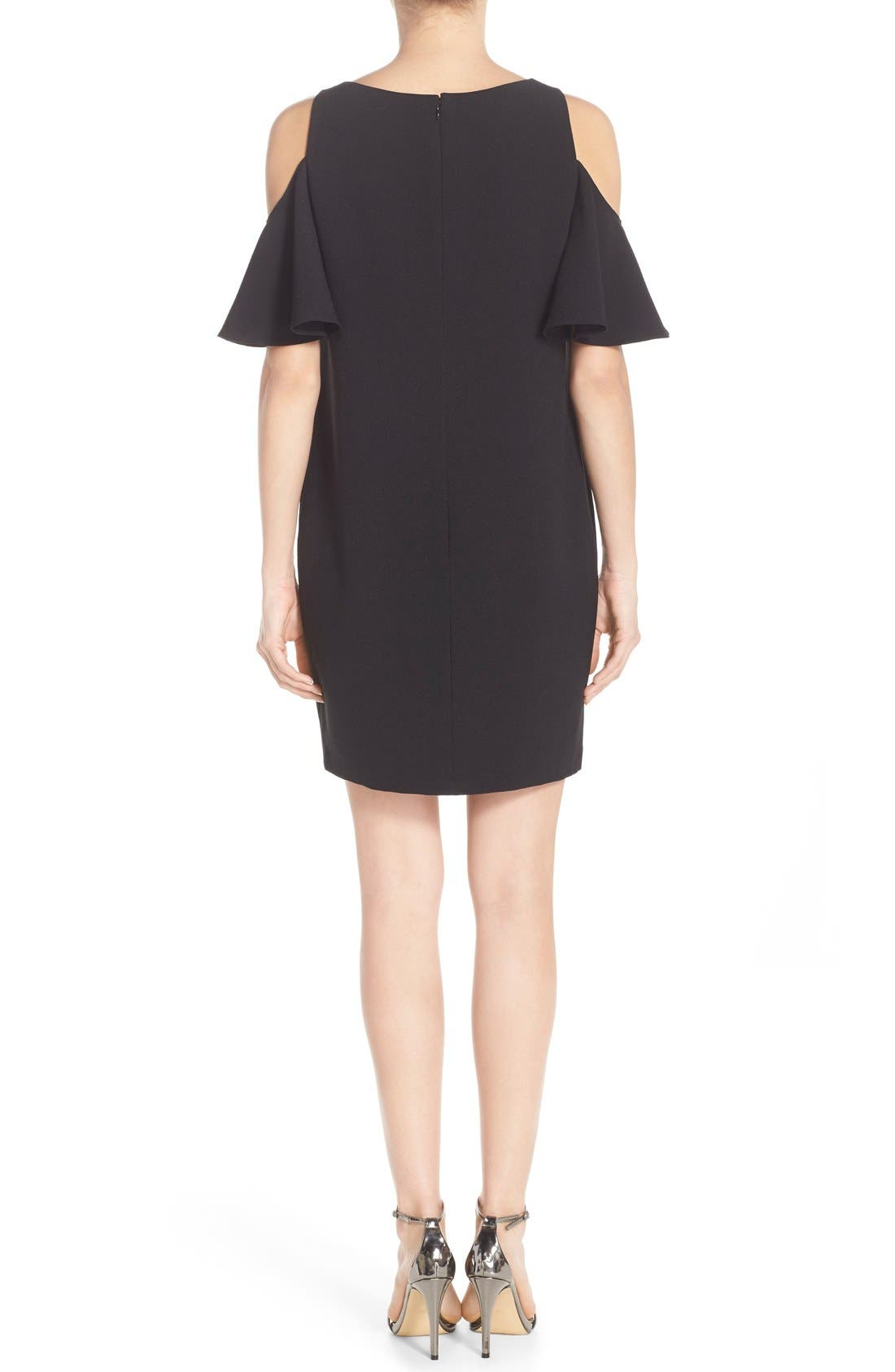 'Peek-A-Boo' Cold Shoulder Shift Dress,                             Alternate thumbnail 2, color,                             Black