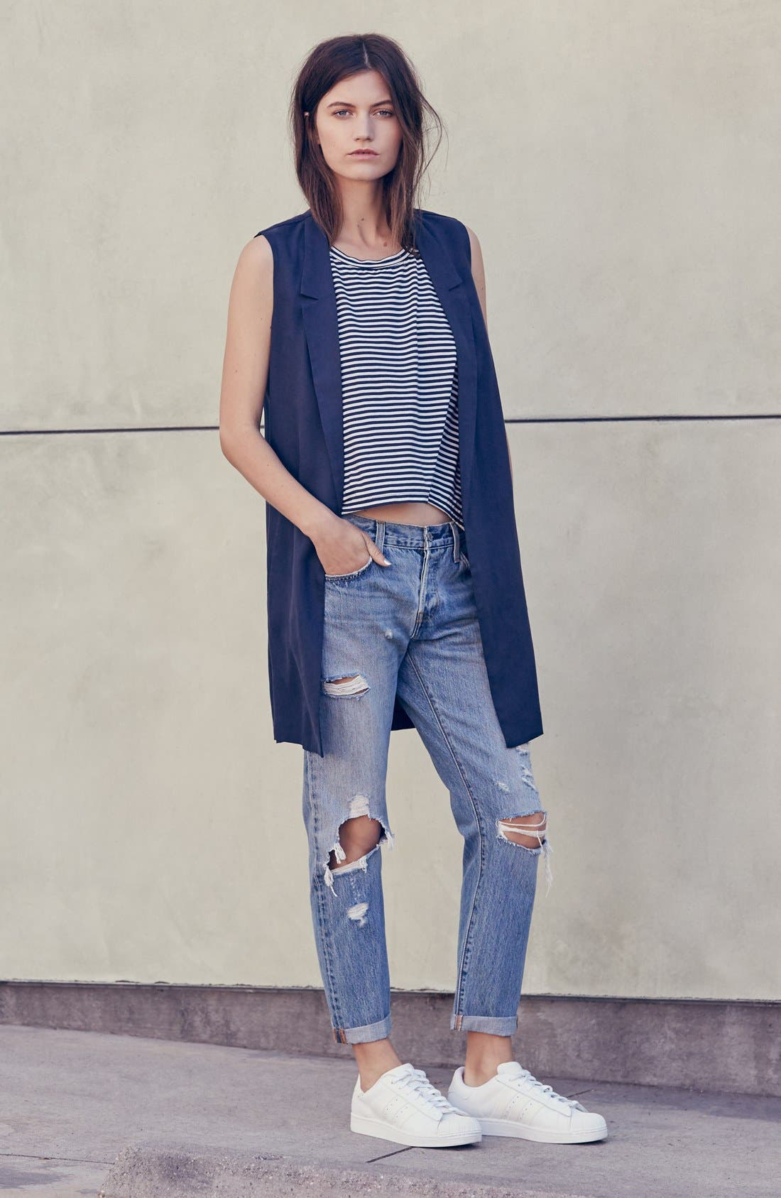 Alternate Image 6  - Levi's® '501 CT' Crop Distressed Boyfriend Jeans (Time Gone By)