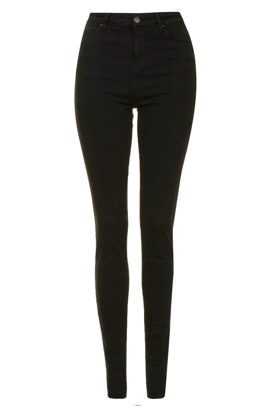 Moto 'Jamie' High Rise Skinny Jeans,                             Alternate thumbnail 4, color,                             Black
