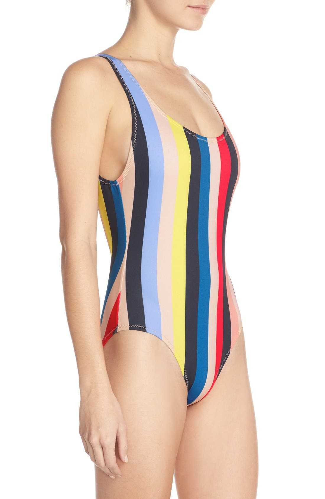 'The Anne-Marie' Scoop Back One-Piece Swimsuit,                             Alternate thumbnail 3, color,                             Multi Color Stripe