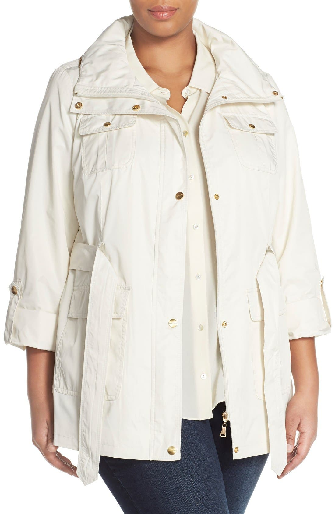 ELLEN TRACY Short Techno Trench Coat