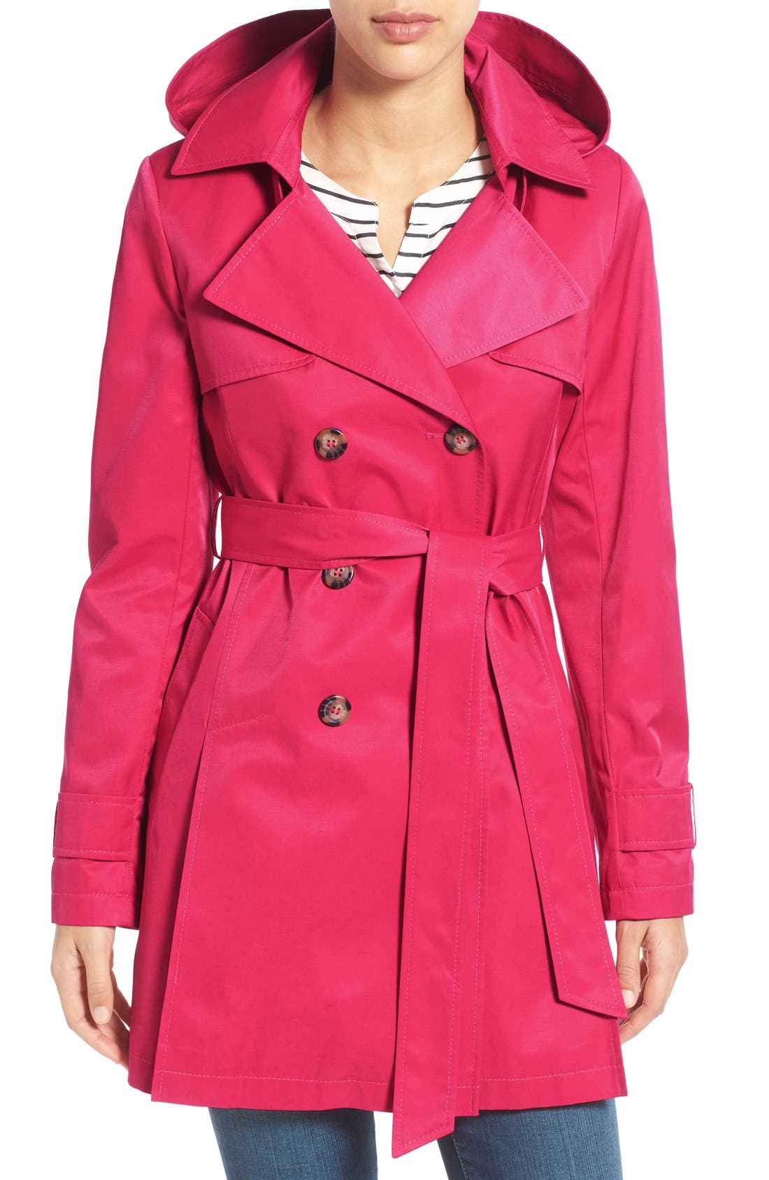 Detachable Hood Trench Coat,                         Main,                         color, Primrose