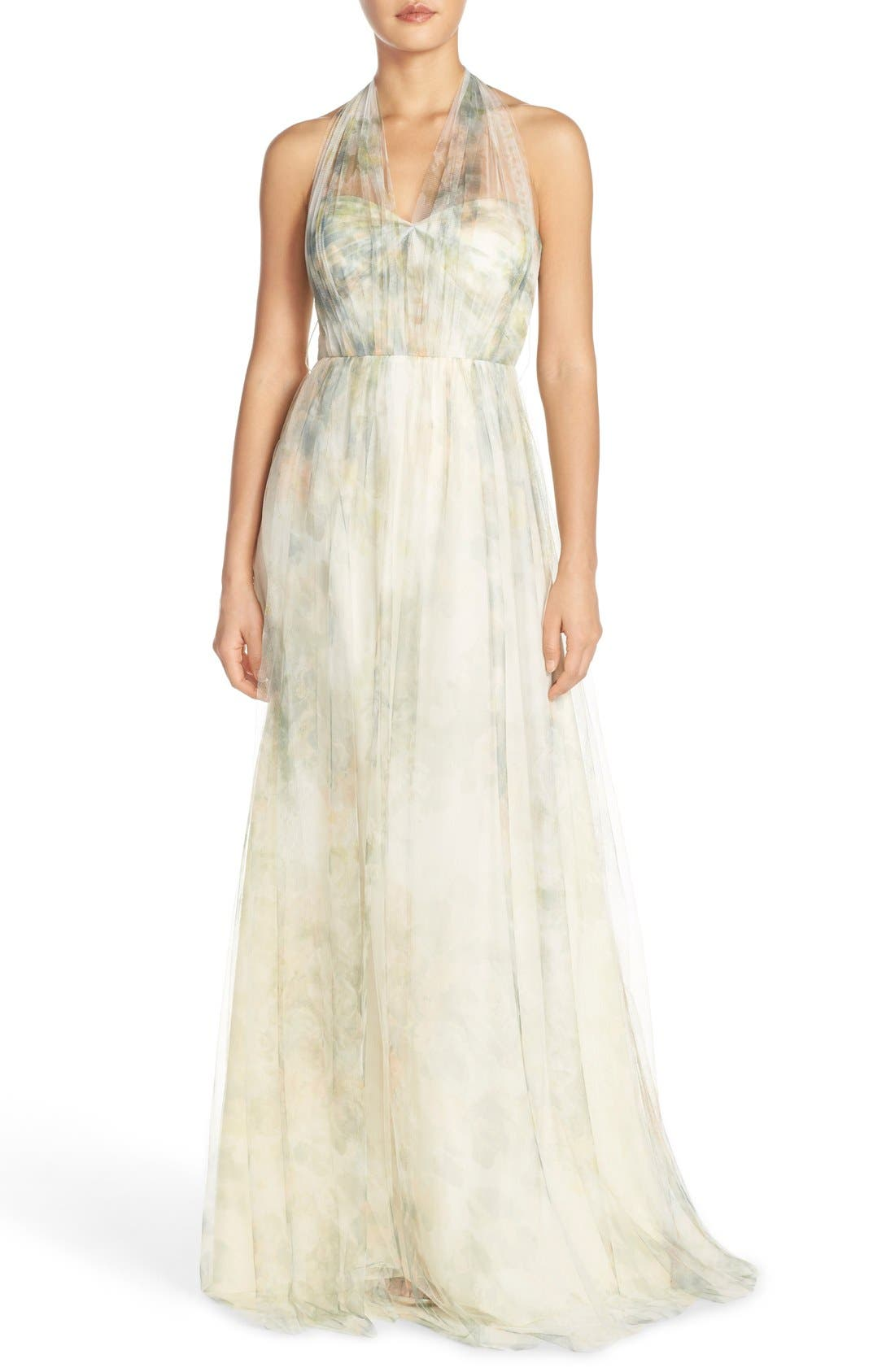 Jenny Yoo Annabelle Print Tulle Convertible Column Gown