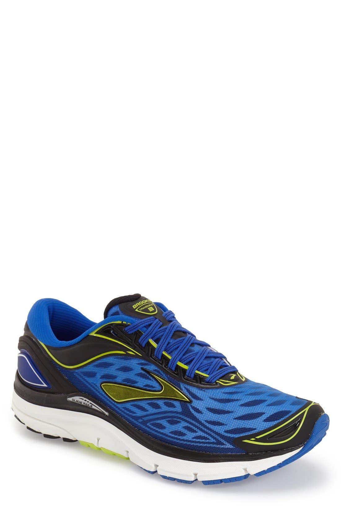 'Transcend 3' Running Shoe,                             Main thumbnail 1, color,                             Electric Blue/ Lime/ Black