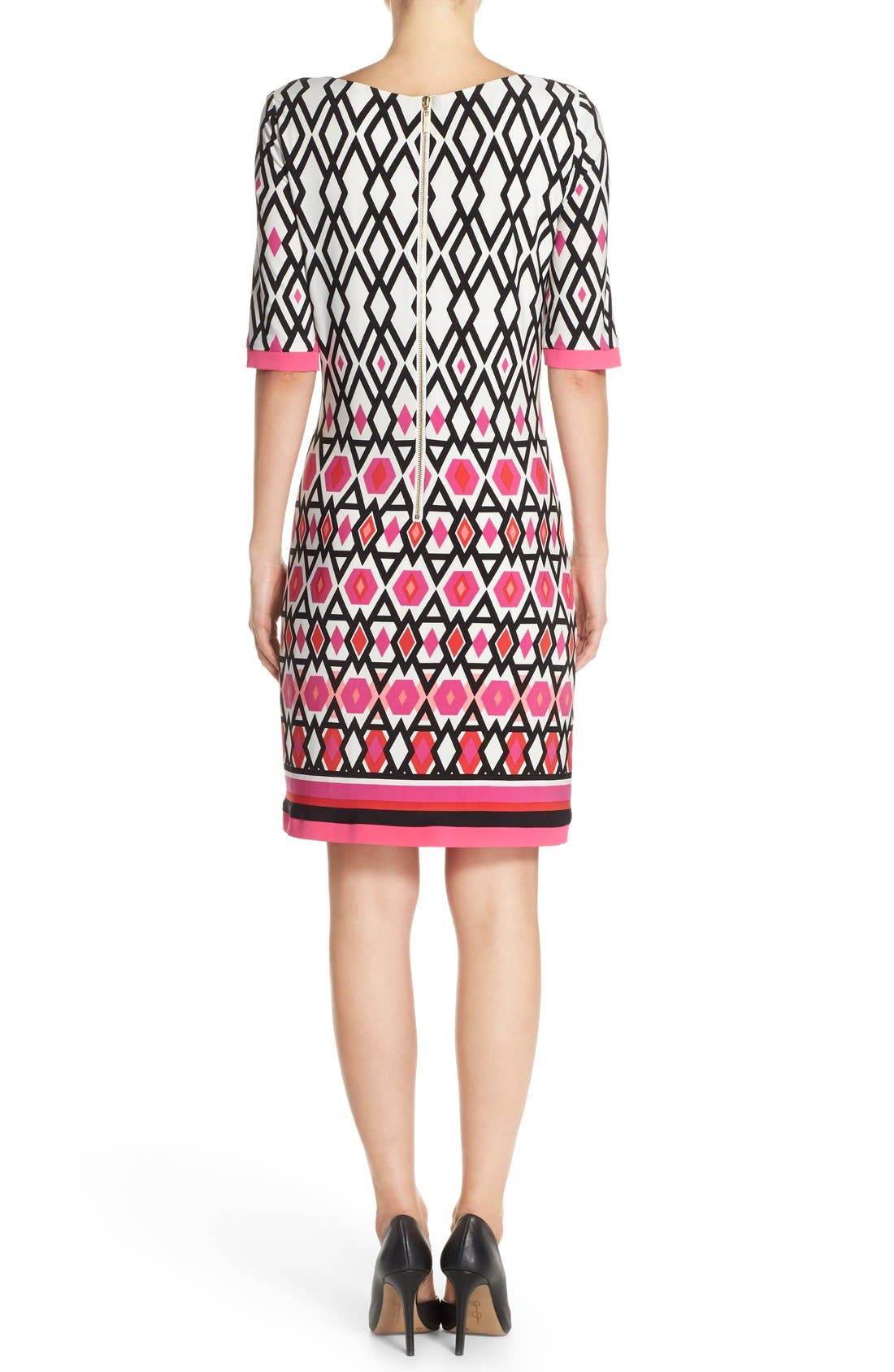 Print Jersey Sheath Dress,                             Alternate thumbnail 2, color,                             Pink Print