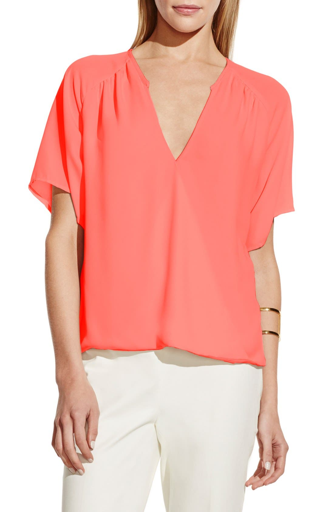 Alternate Image 1 Selected - Vince Camuto Wrap Front V-Neck Blouse